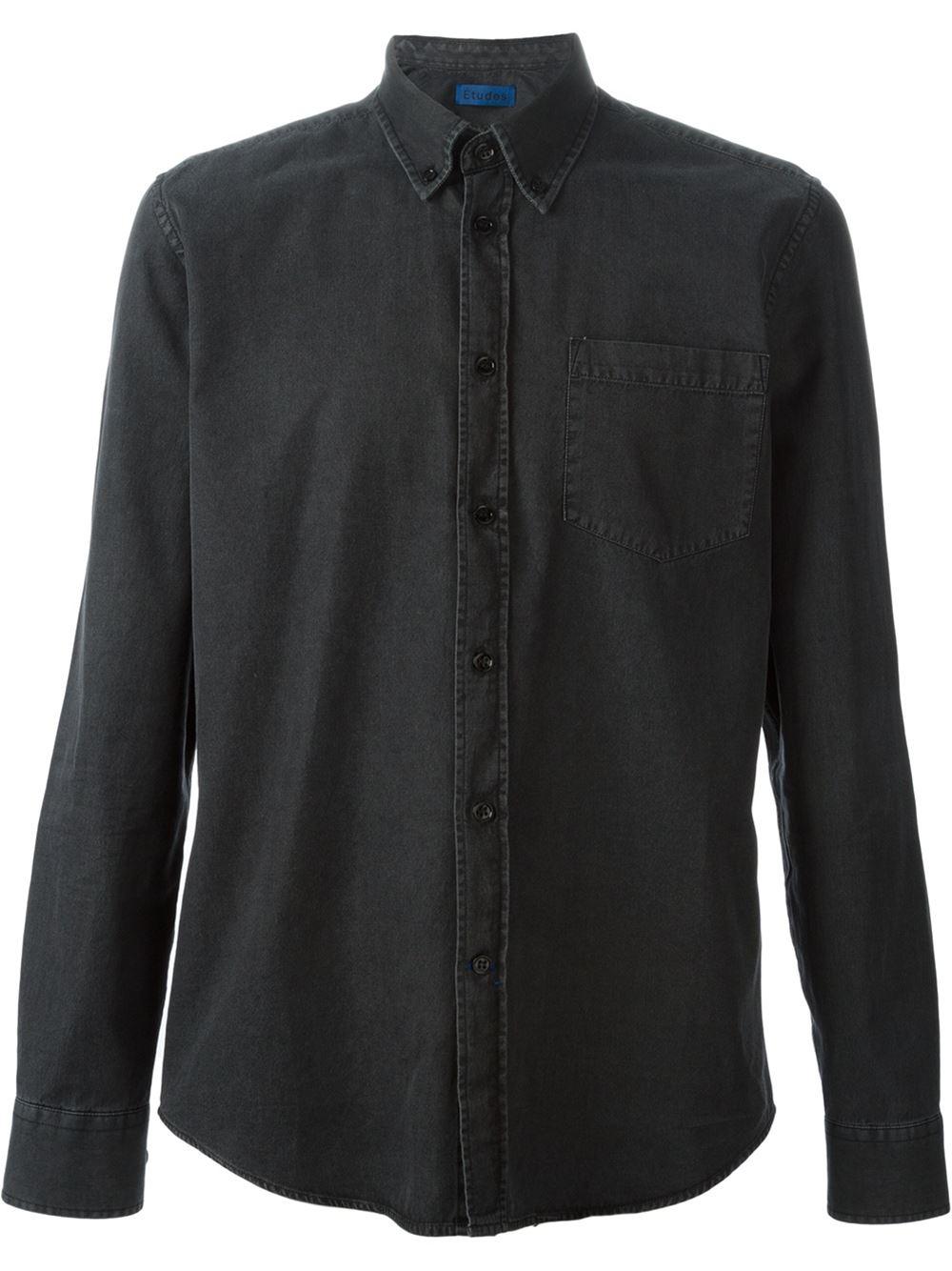 Etudes button down denim shirt in black for men lyst for Denim button down shirts