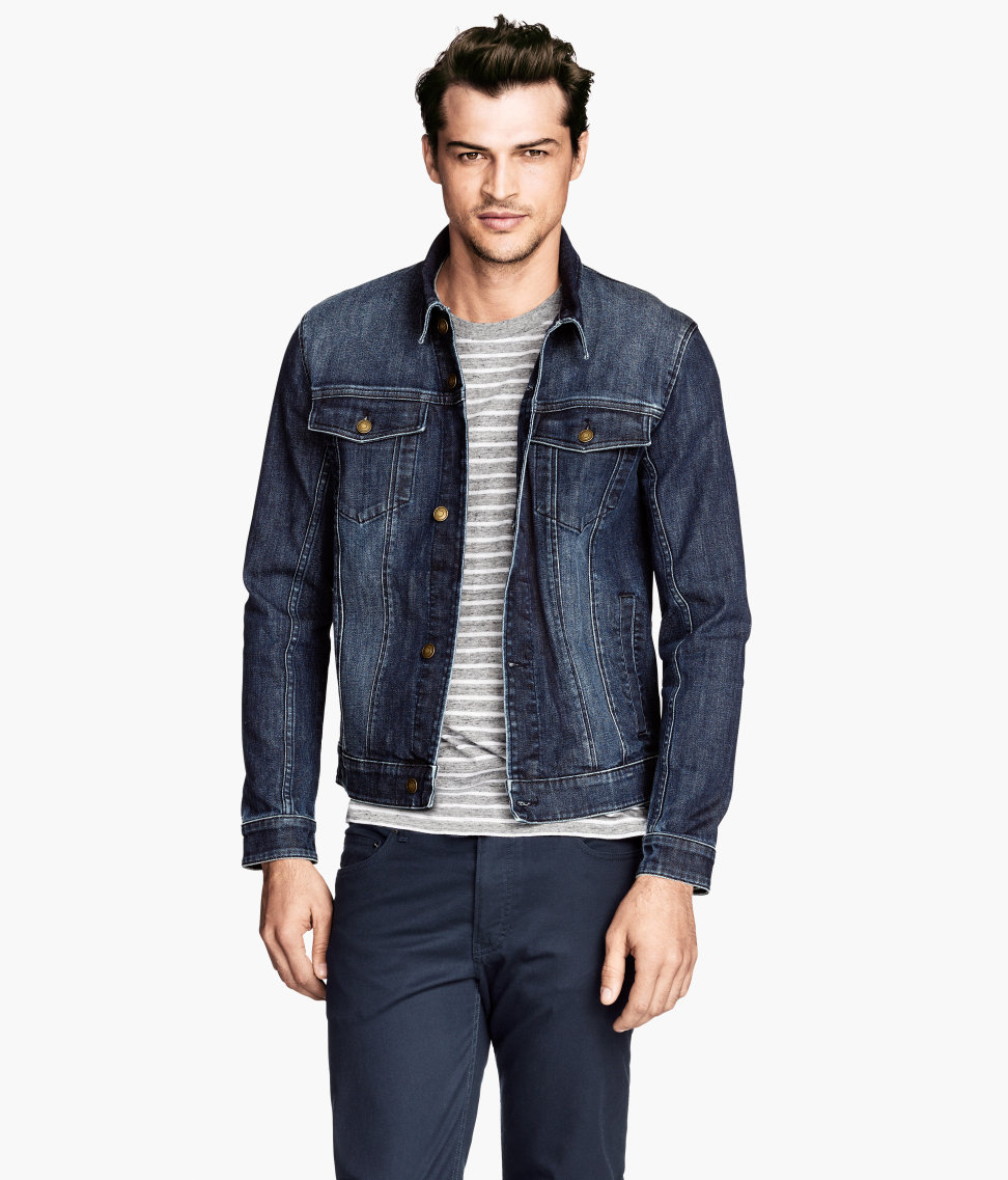 Dark Blue Denim Jacket Mens - JacketIn