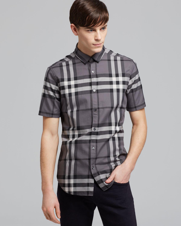 Burberry Brit Rhys Plaid Sport Shirt Classic Fit In Gray