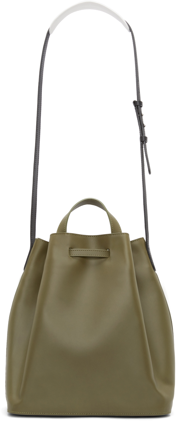 Pb 0110 Olive Leather Ab 16 Bucket Bag in Green | Lyst