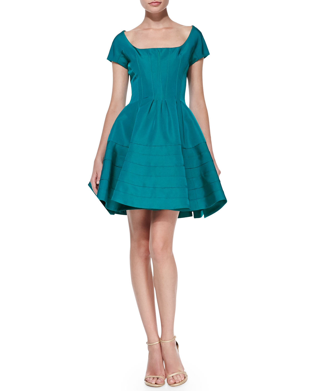 Lyst - Zac Posen Short-Sleeve Fit-And-Flare Dress in Blue