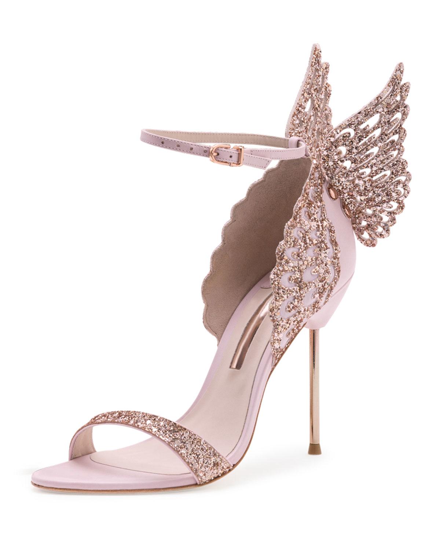 Sophia Webster Evangeline Glittered Butterfly Sandal In