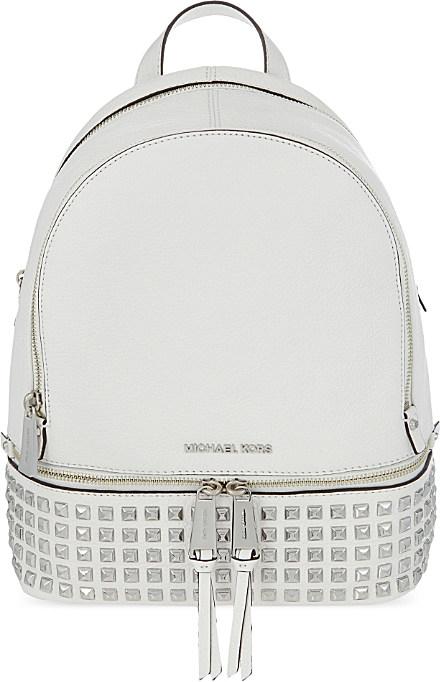 lyst michael michael kors rhea leather backpack in white rh lyst com
