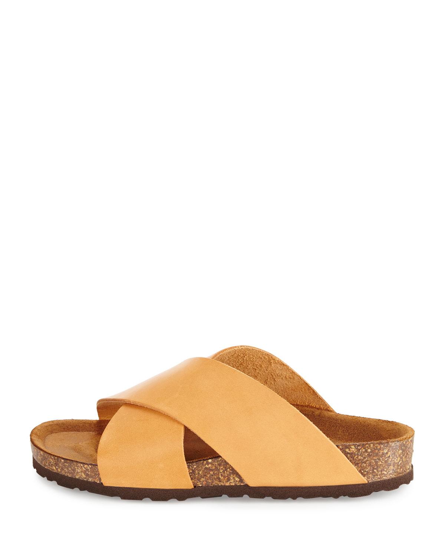Lyst - Neiman Marcus Brenda Crisscross Slide Sandal in Brown