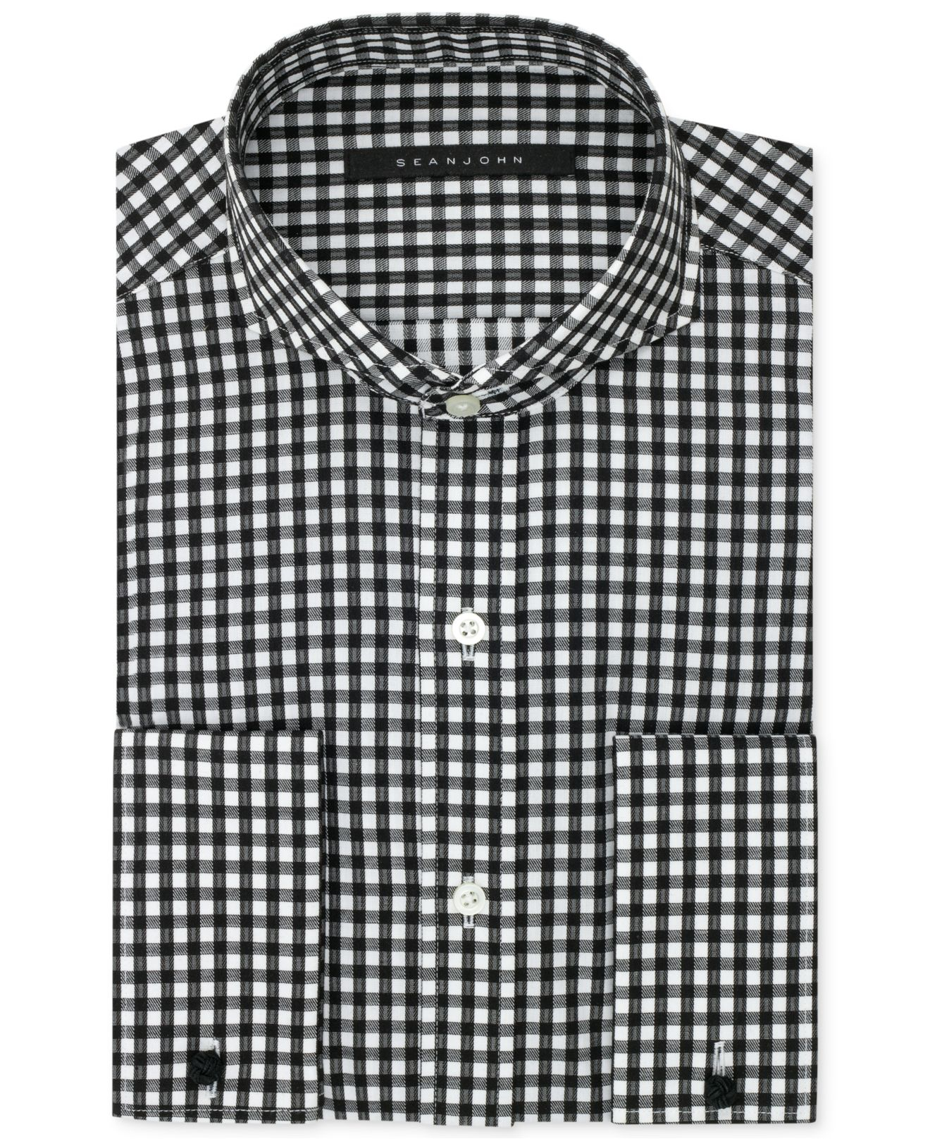 Lyst sean john big and tall bold black gingham french for Big and tall french cuff dress shirts