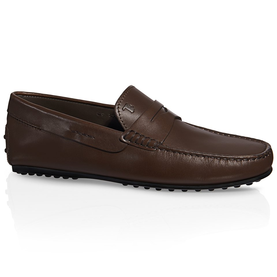 Brown Leather Shoes Lace Loafers Womens