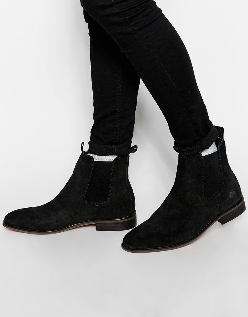 bellfield suede chelsea boots in black for lyst