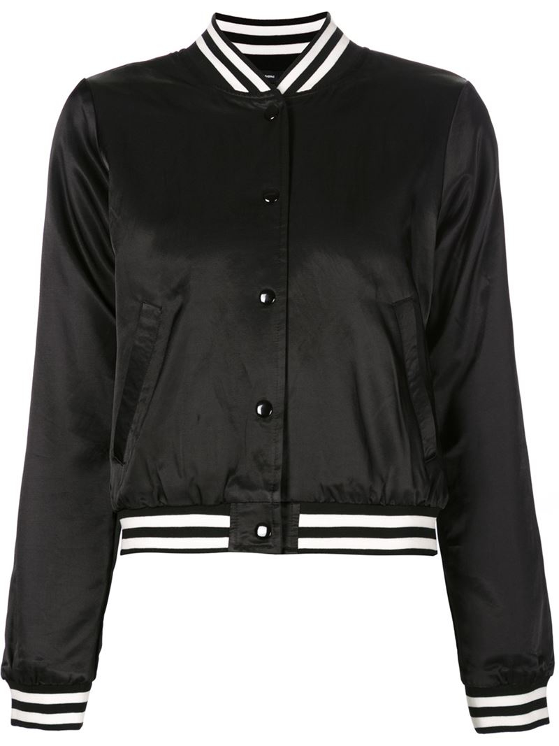 R13 Cropped Baseball Jacket in Black | Lyst