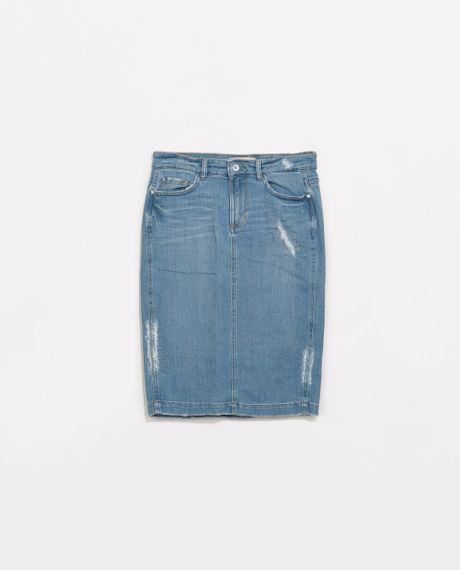 zara ripped denim pencil skirt in blue light blue lyst