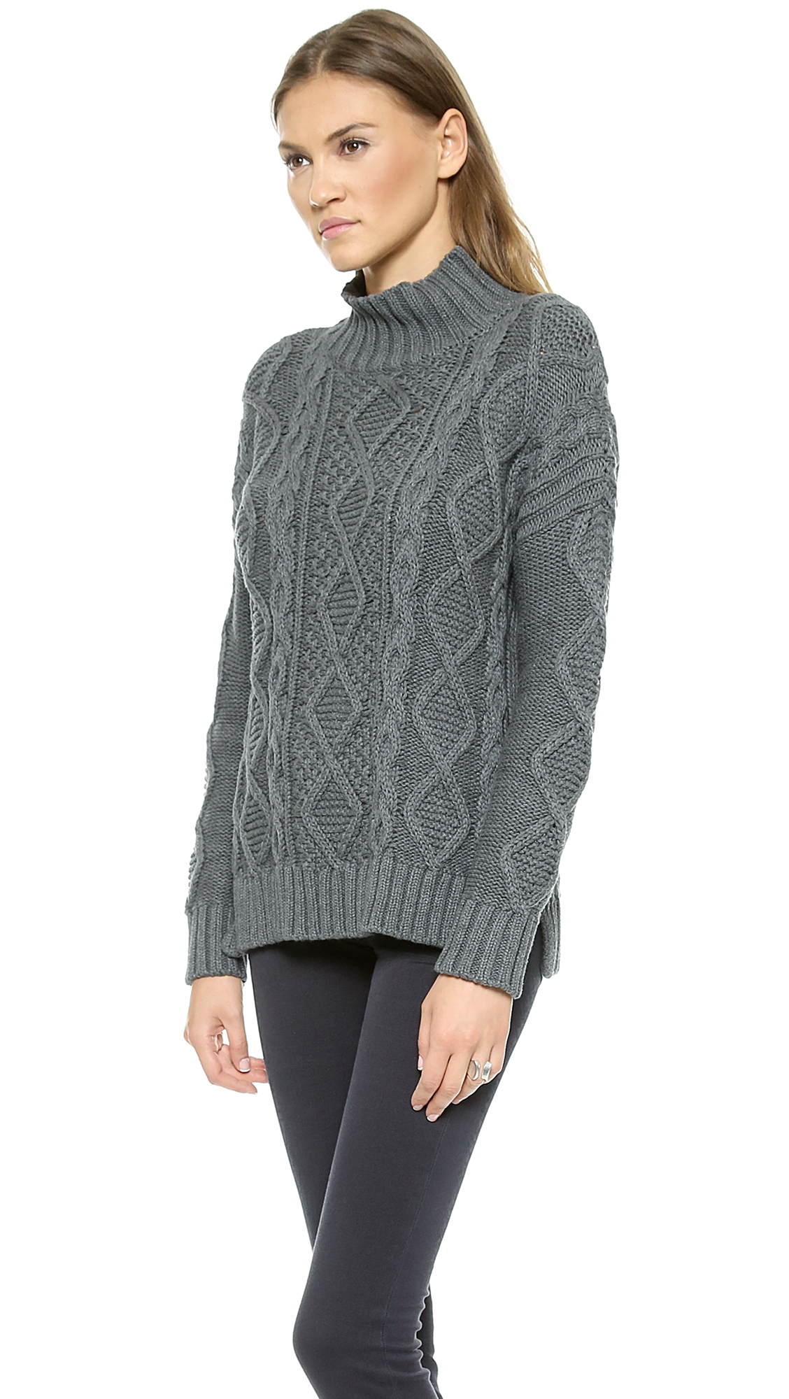 525 america Xo Cable Knit Sweater - Dark Heather Grey in Gray | Lyst