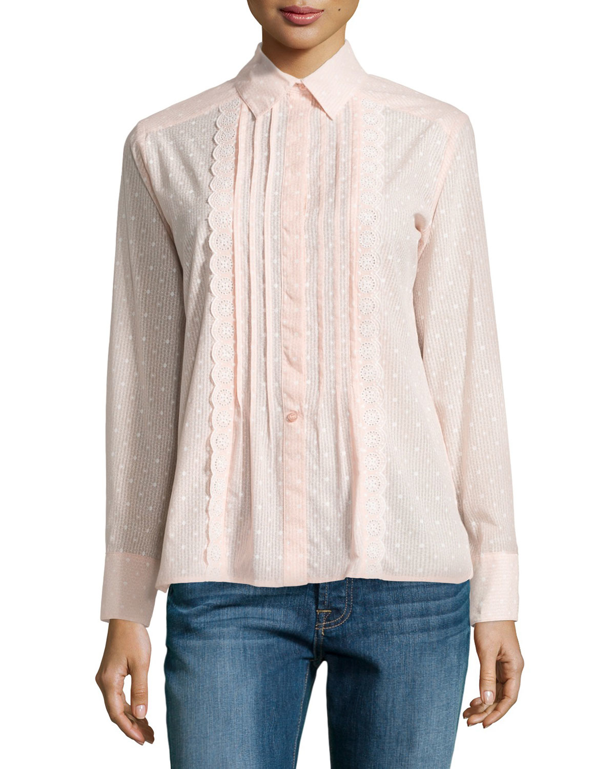 020eeb2f48ff1 Lyst - See By Chloé Pleated-front Dot-print Shirt in Pink