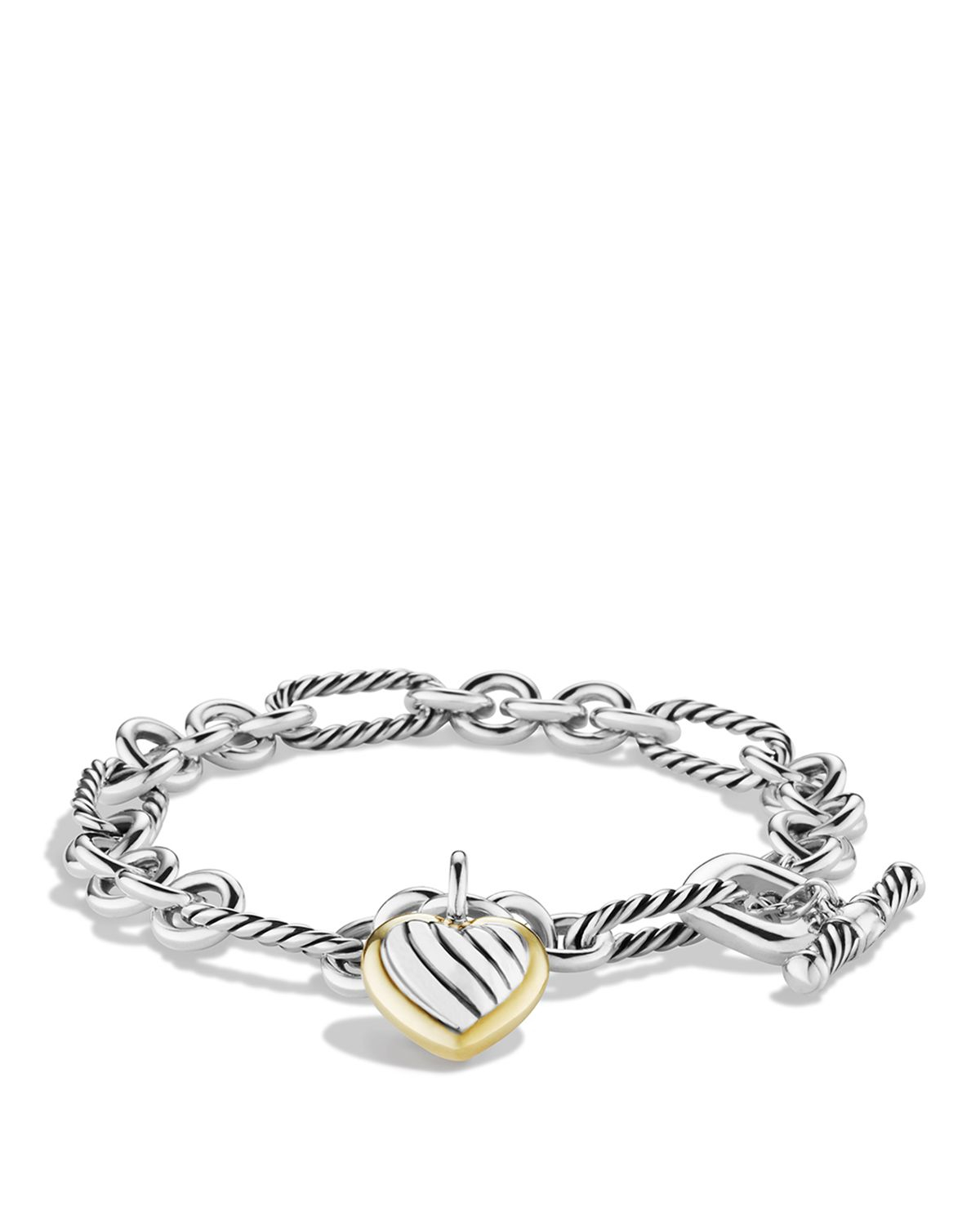 David Yurman Charm Bracelet: David Yurman Cable Heart Charm Bracelet With Gold In