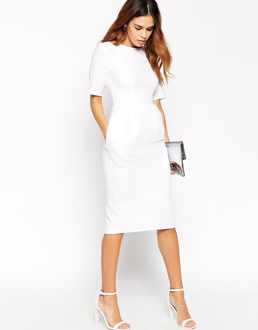 Lyst Asos Petite Textured Wiggle Dress In White