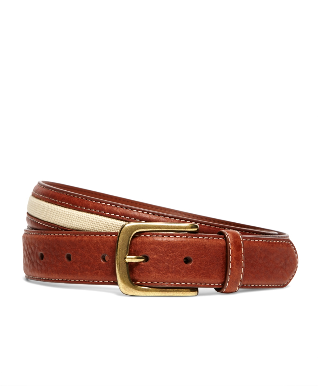 brothers leather with canvas inlay belt in brown