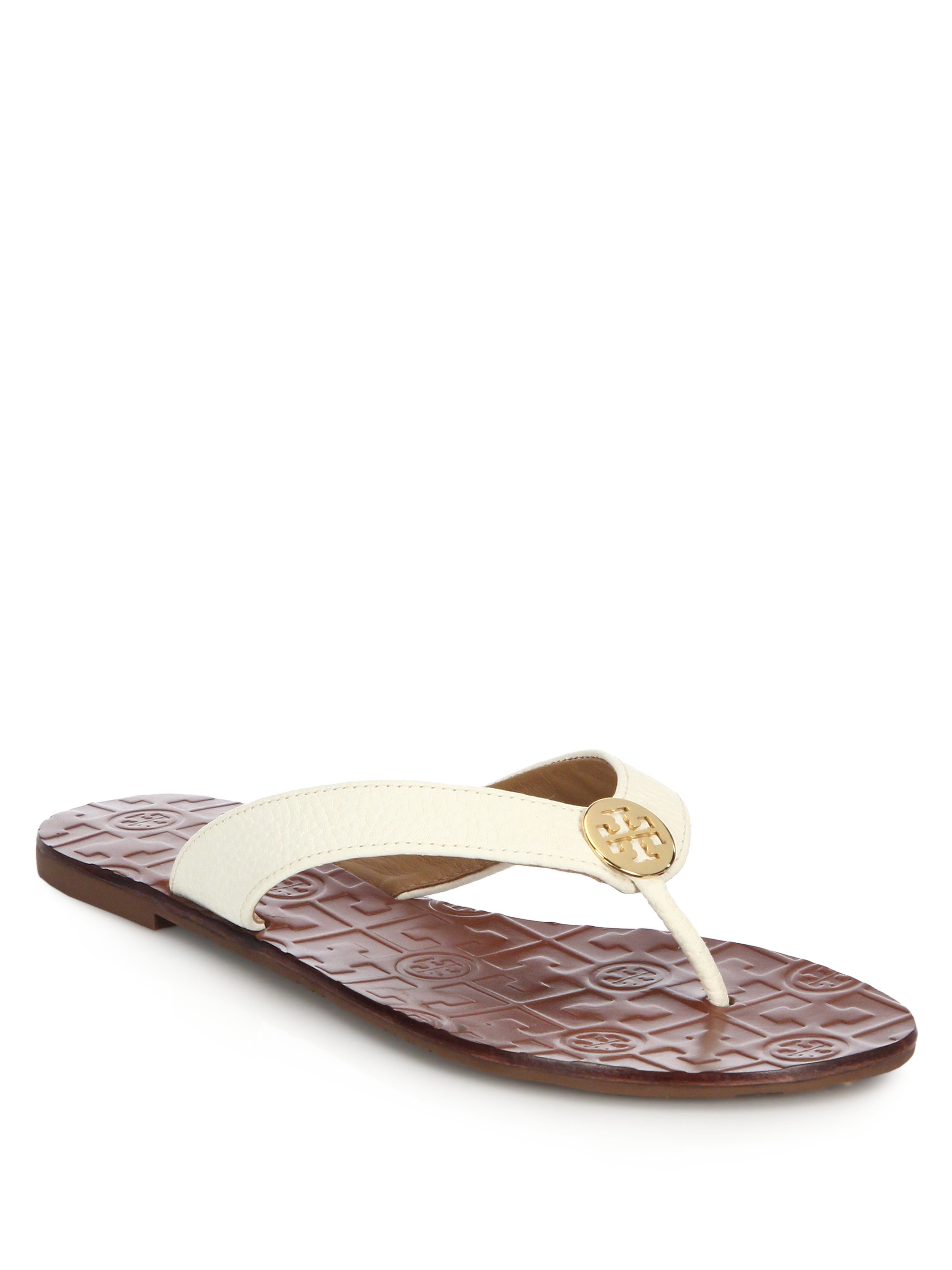 877dd76b4 Lyst - Tory Burch Thora Tumbled Leather Thong Sandals in Brown