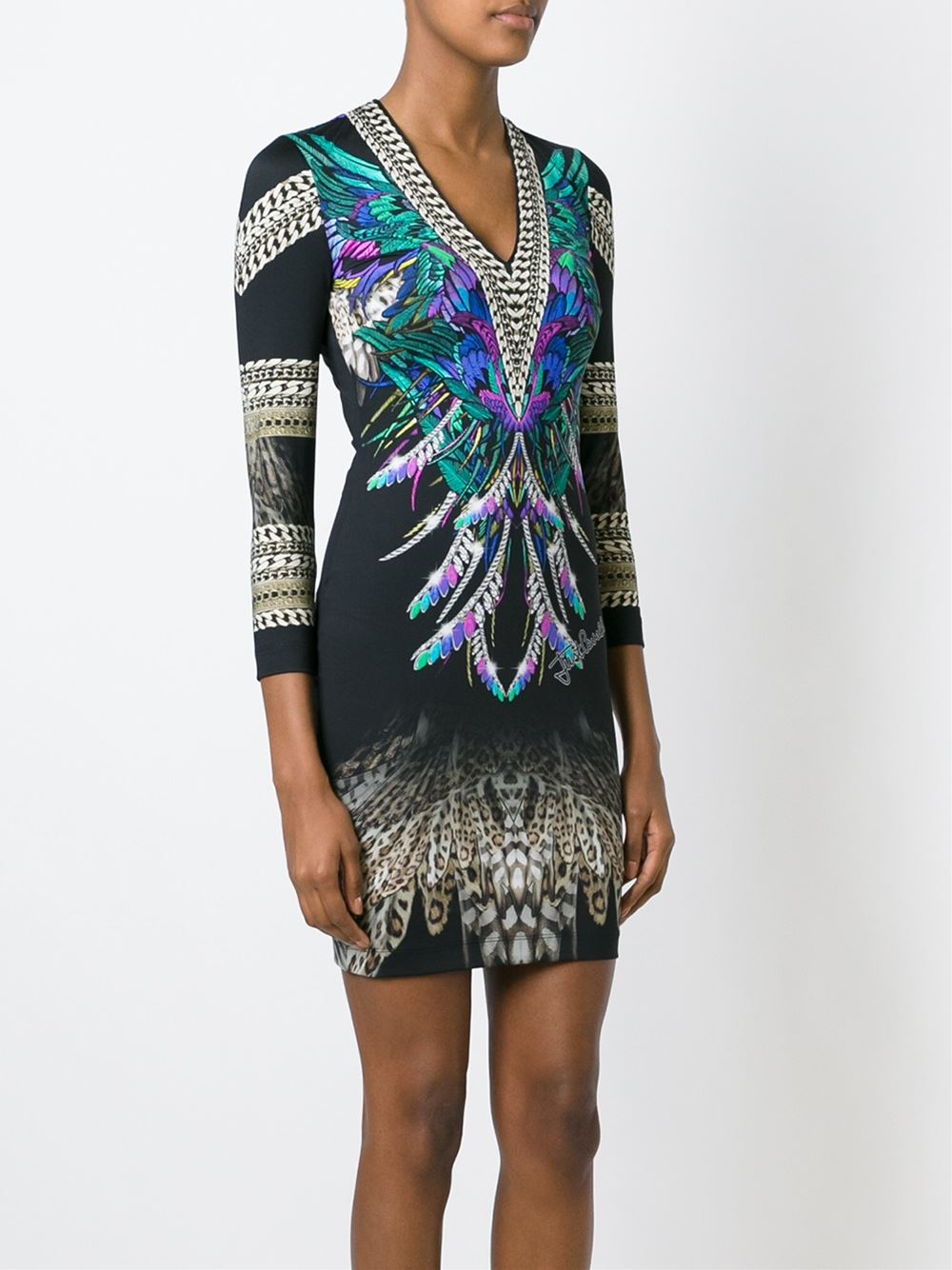 Lyst Just Cavalli Feather Print Fitted Dress In Black