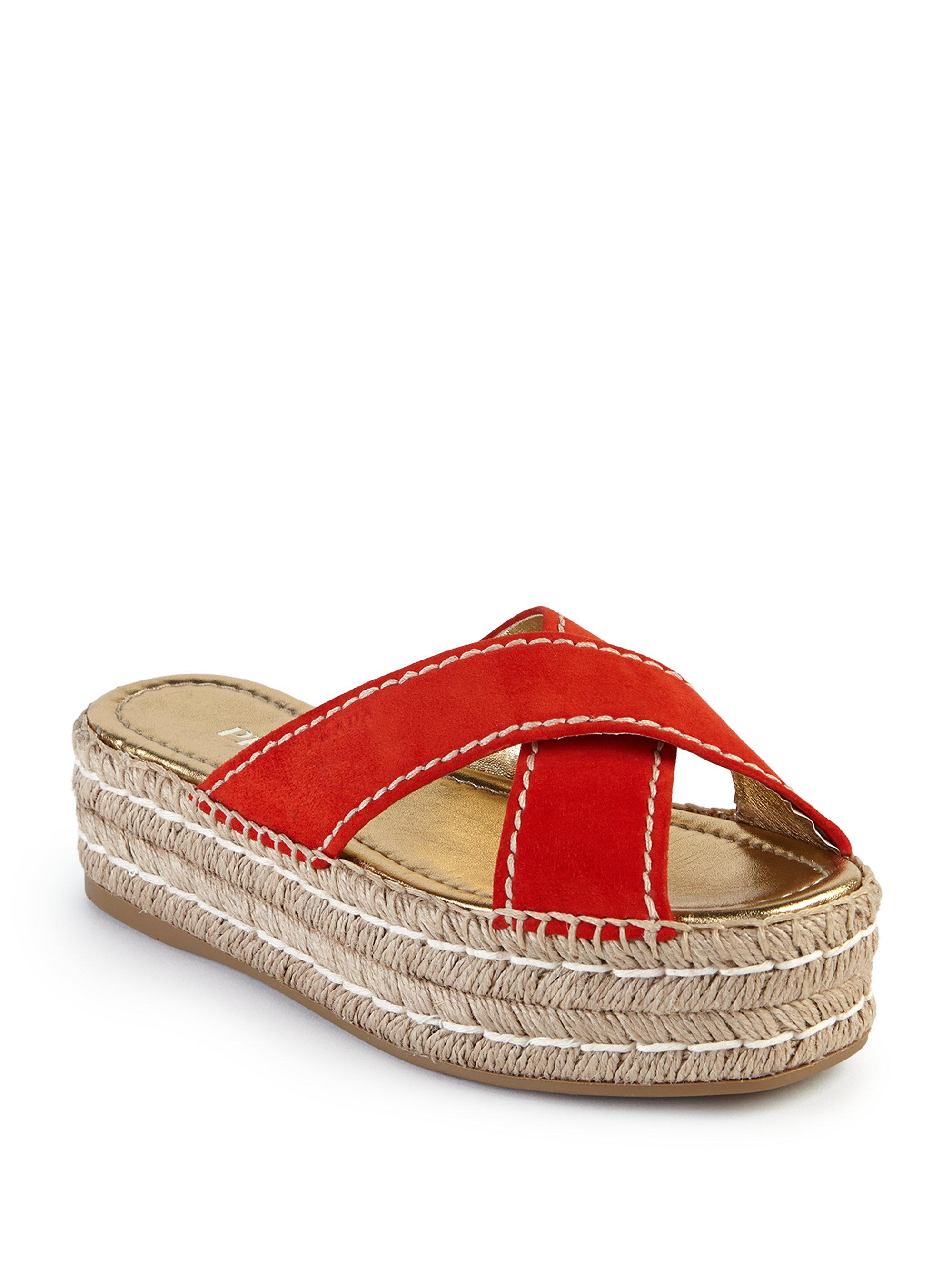 Prada Suede Double Platform Espadrille Slide Sandals In