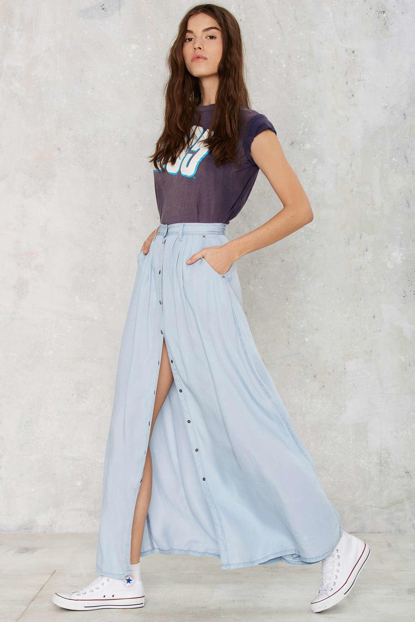 gal bohemian you maxi skirt in blue lyst