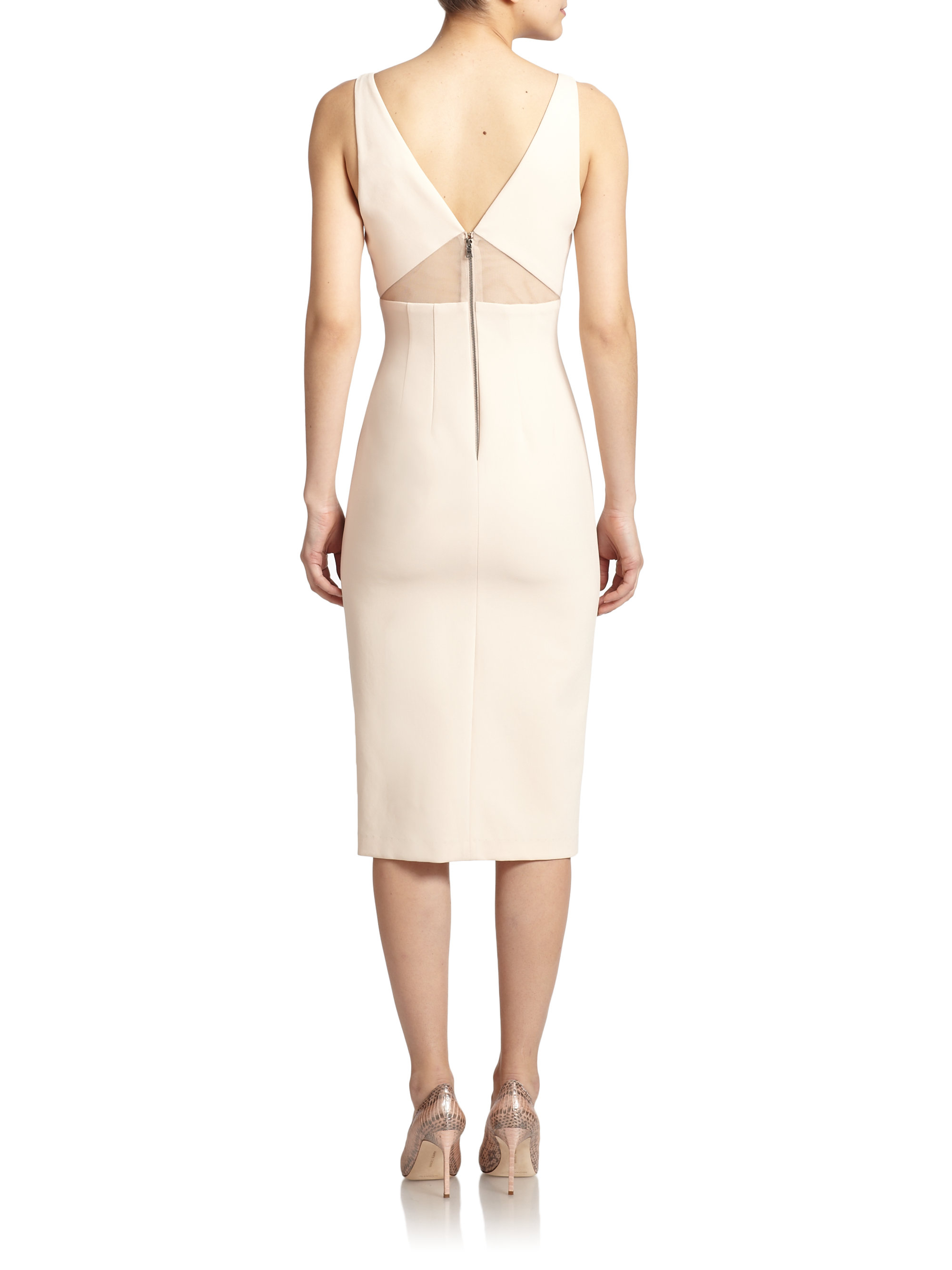dash cutout front sheer paneled dress in