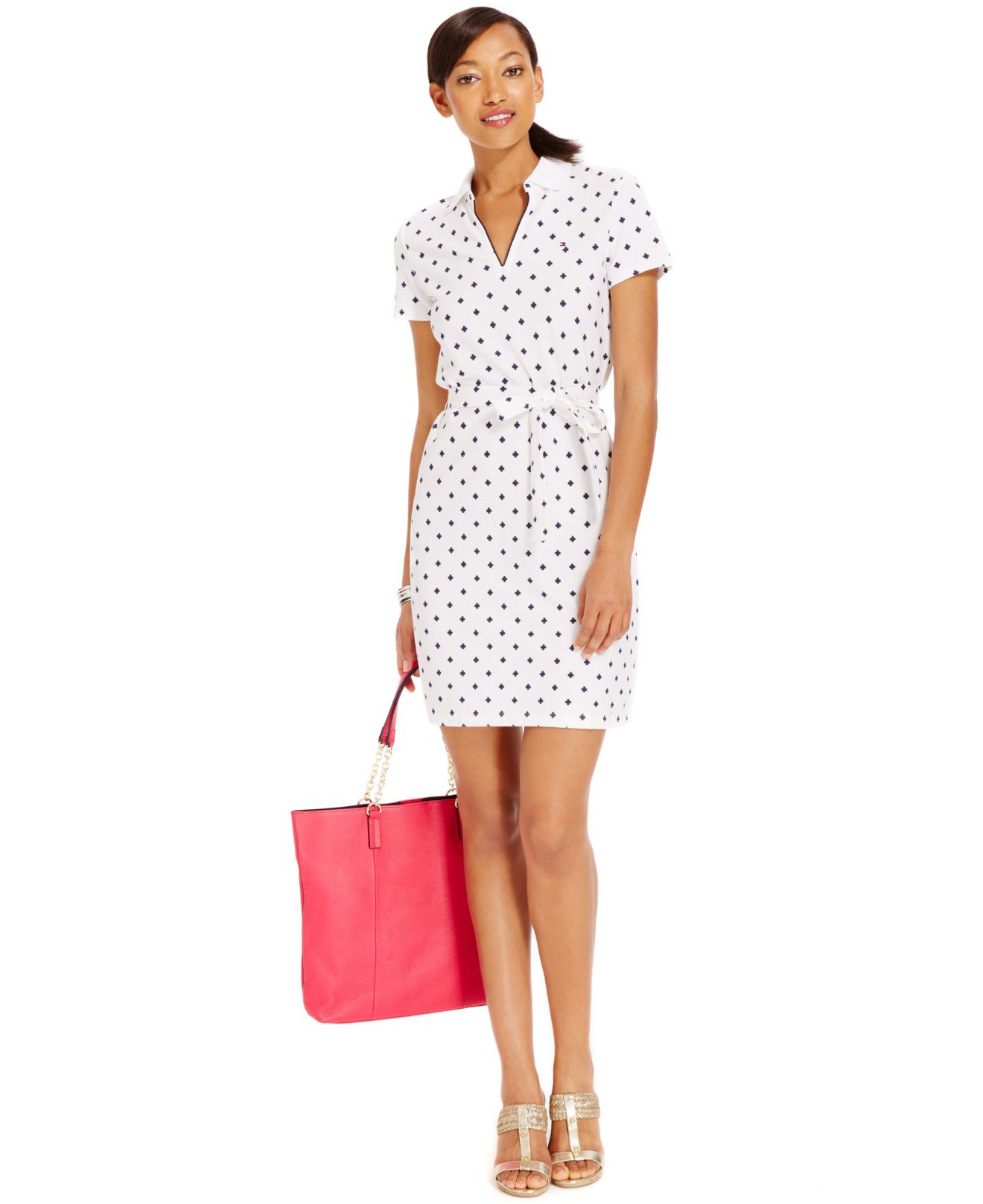 edf7c0fe1 Tommy Hilfiger Belted Samantha Polo Dress in White - Lyst
