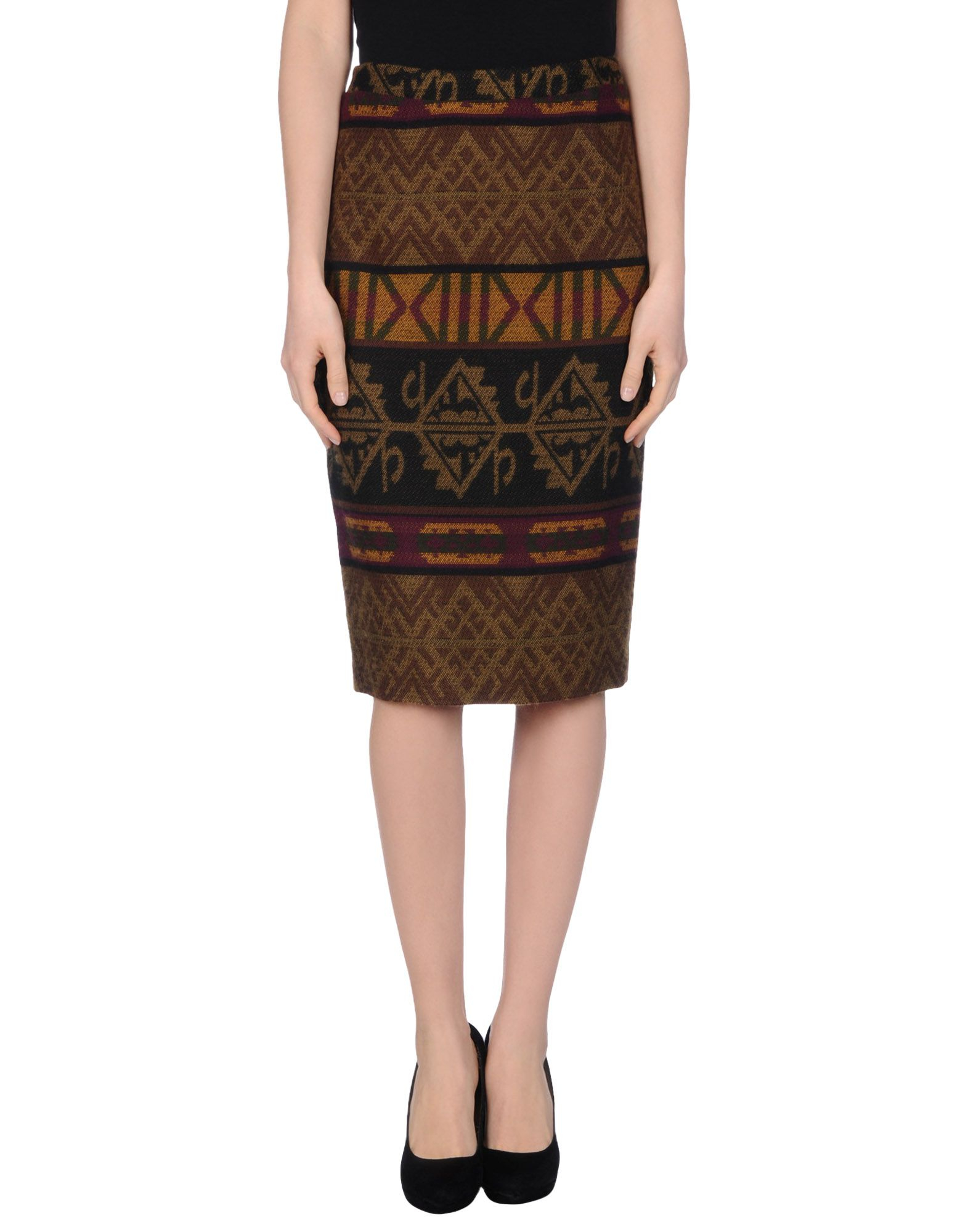 stella jean knee length skirt in lyst