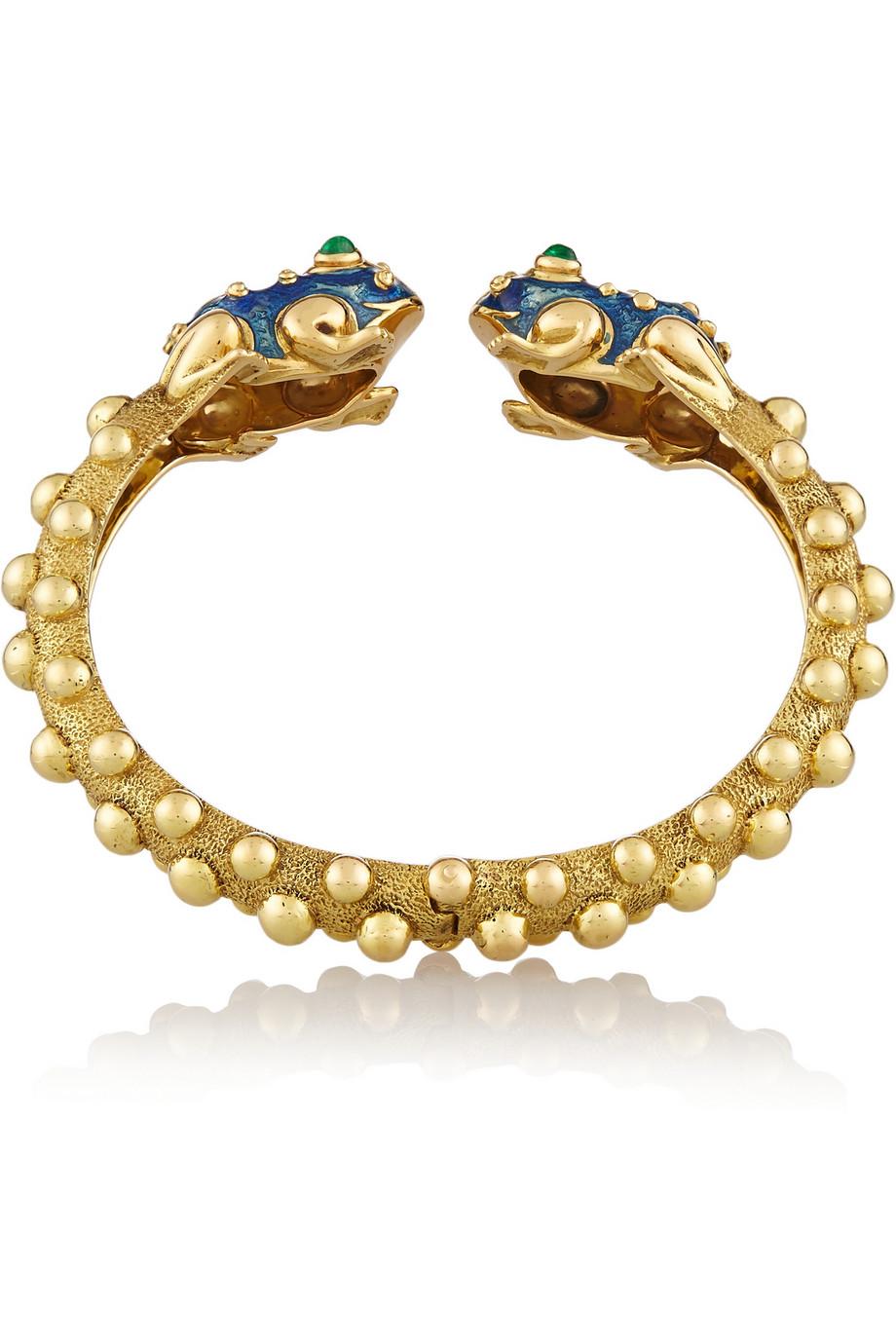 David Webb 18k Gold Baby Frog Cuff Bracelet in Black Enamel j4txB