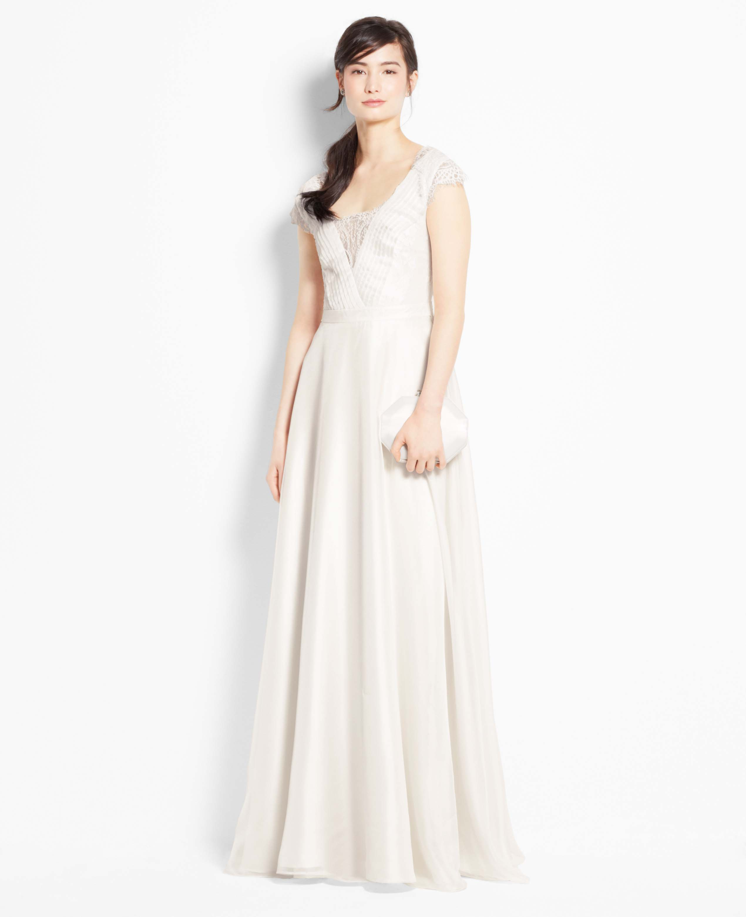 Ann Taylor Petite Lace Cap Sleeve Wedding Dress In