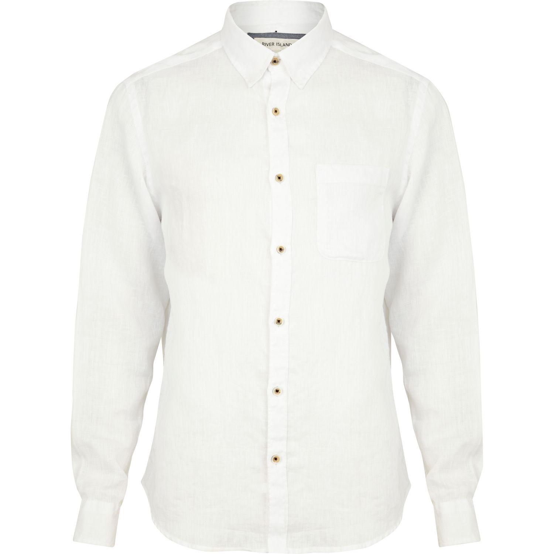 River island white linen long sleeve shirt in white for for Linen long sleeve shirt