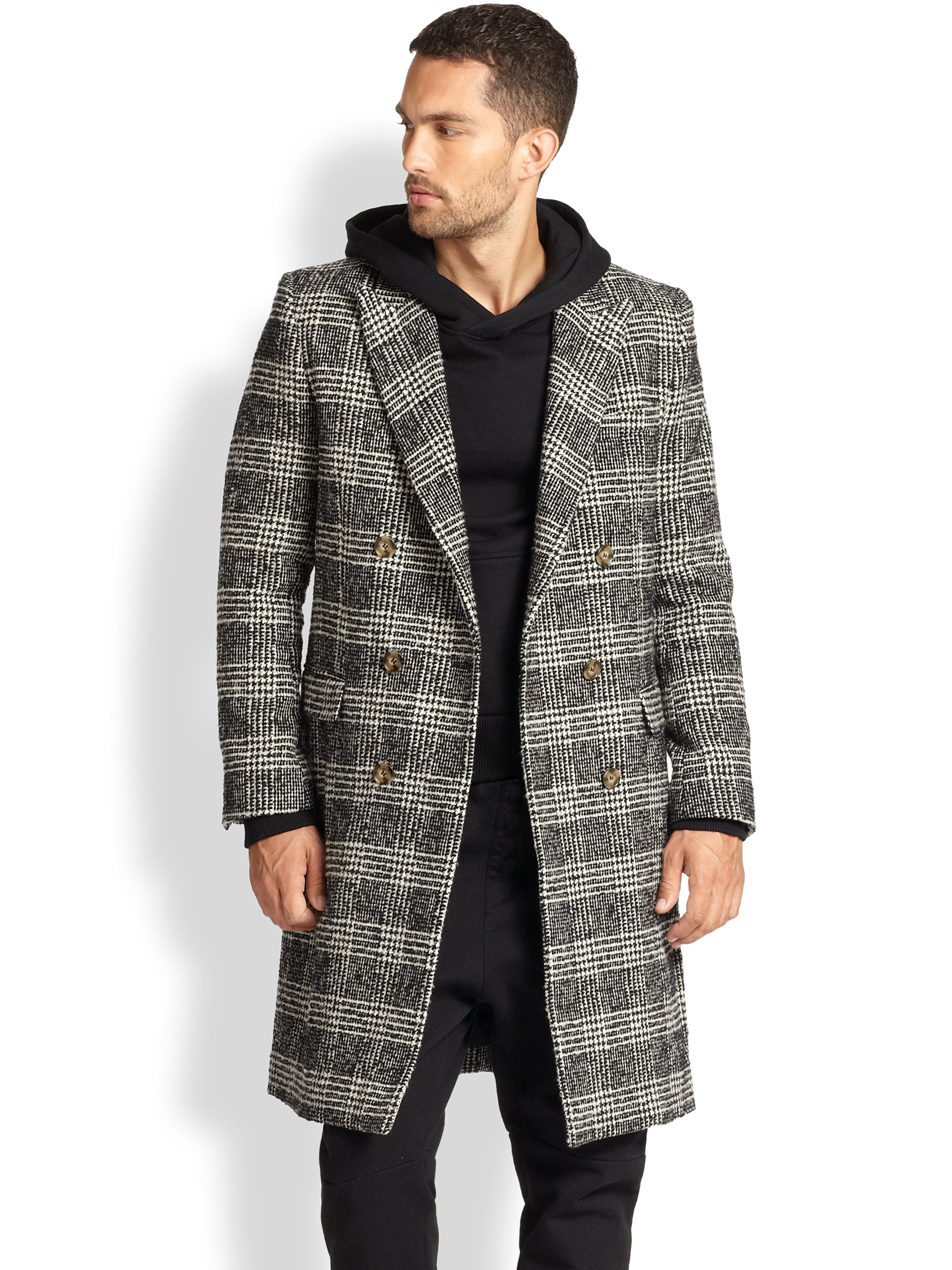 58b83b767c29 AMI Plaid Prince Of Wales Coat in Gray for Men - Lyst