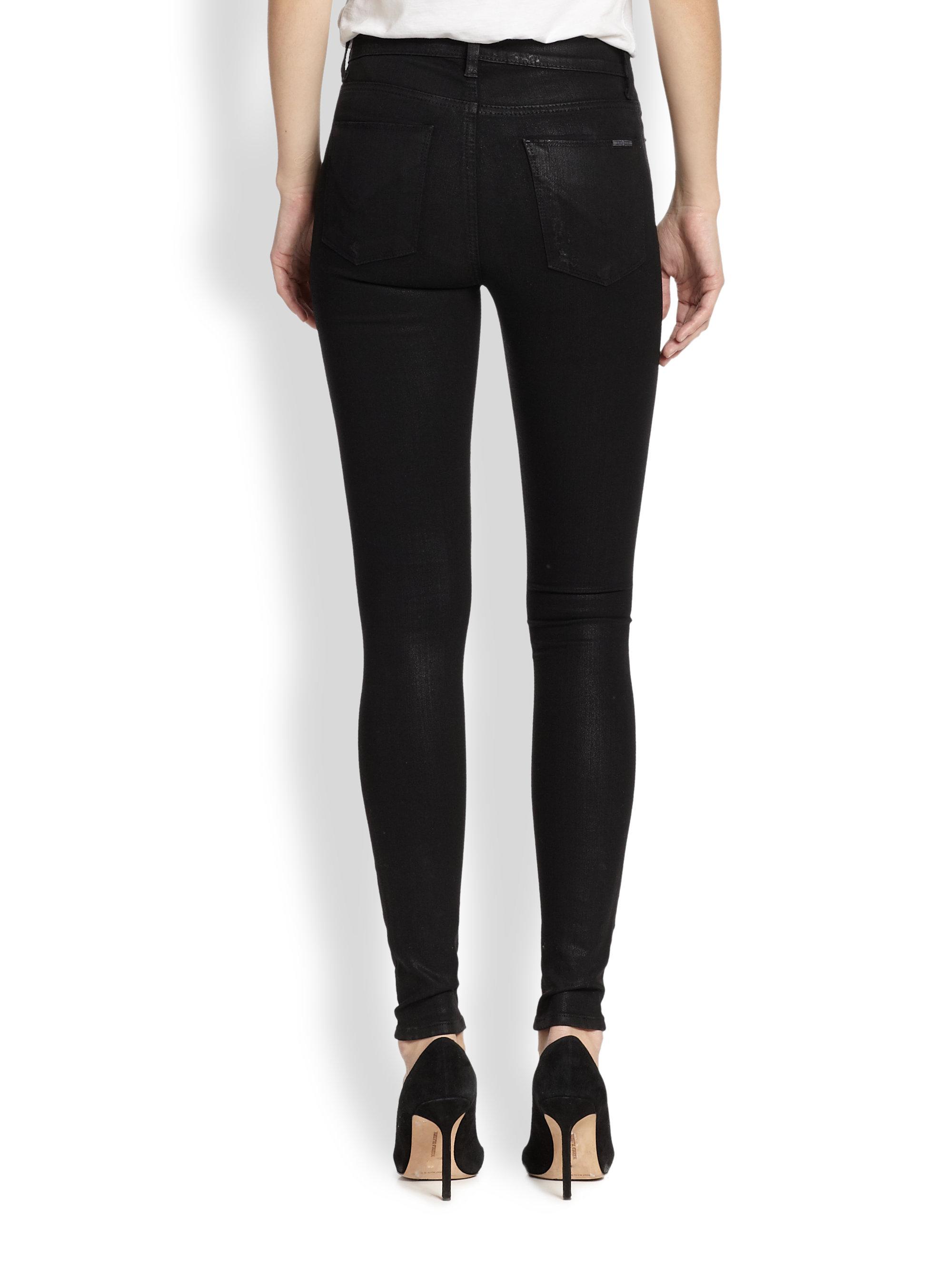Hudson jeans Barbara Distressed Coated High-Waist Super Skinny ...
