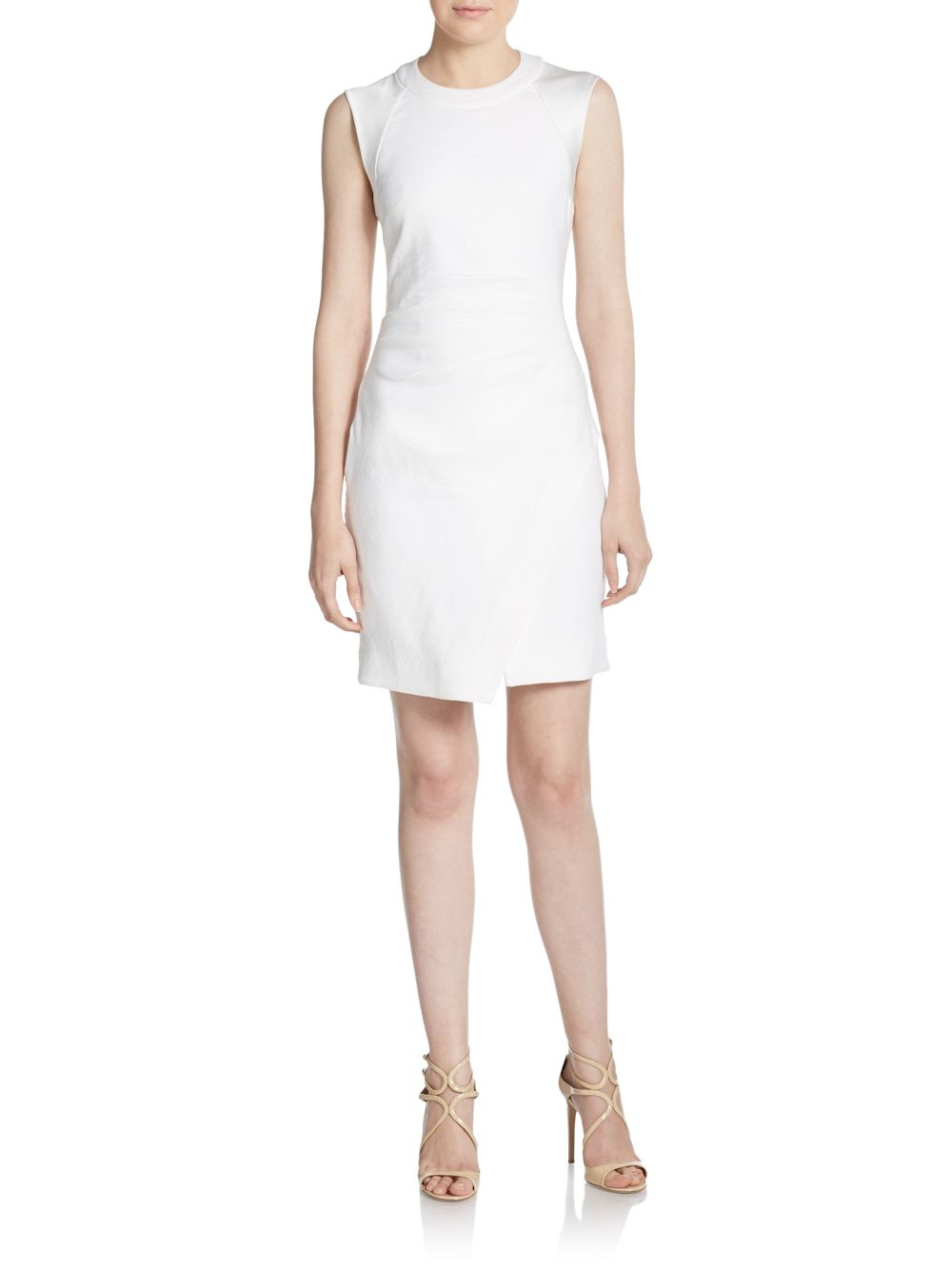 41f091d6 Lyst - L'Agence Stretch Cotton & Linen Sheath Dress in White