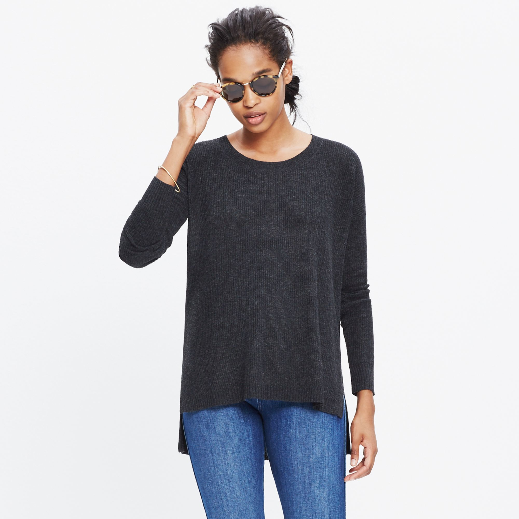 Madewell Warmlight Pullover Sweater in Black | Lyst