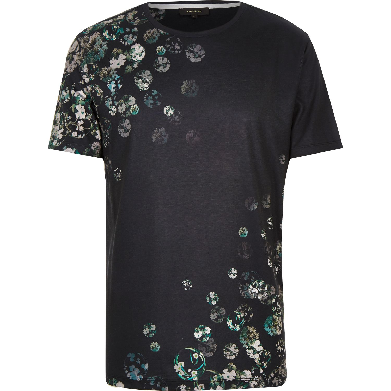 River island black faded floral print t shirt in black for for Faded color t shirts