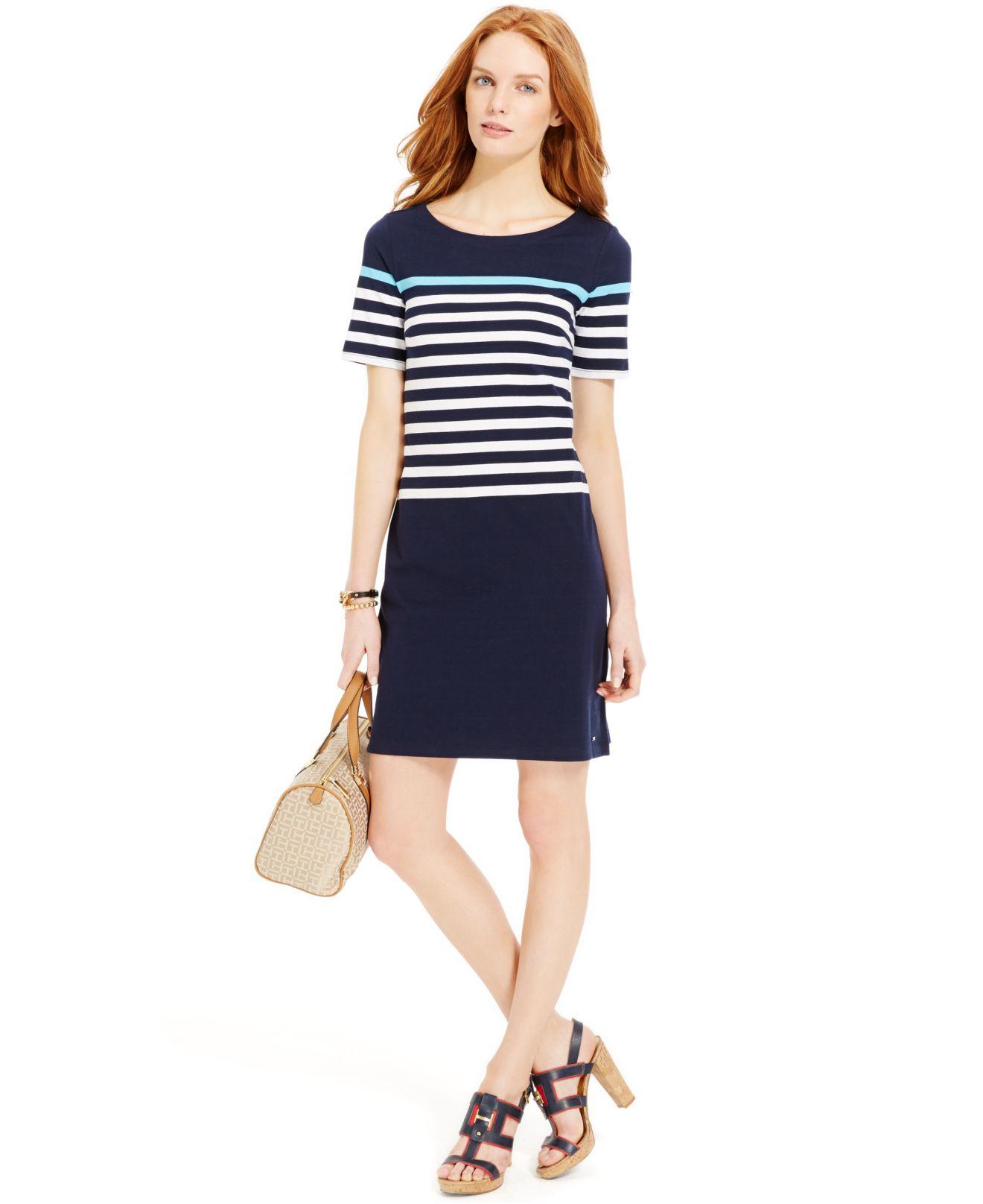 7b24e3cb Tommy Hilfiger Colorblock Striped T-shirt Dress in Blue - Lyst