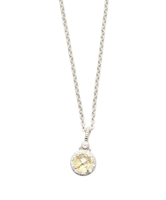 Lyst judith ripka canary crystal round stone pendant necklace in gallery aloadofball Images