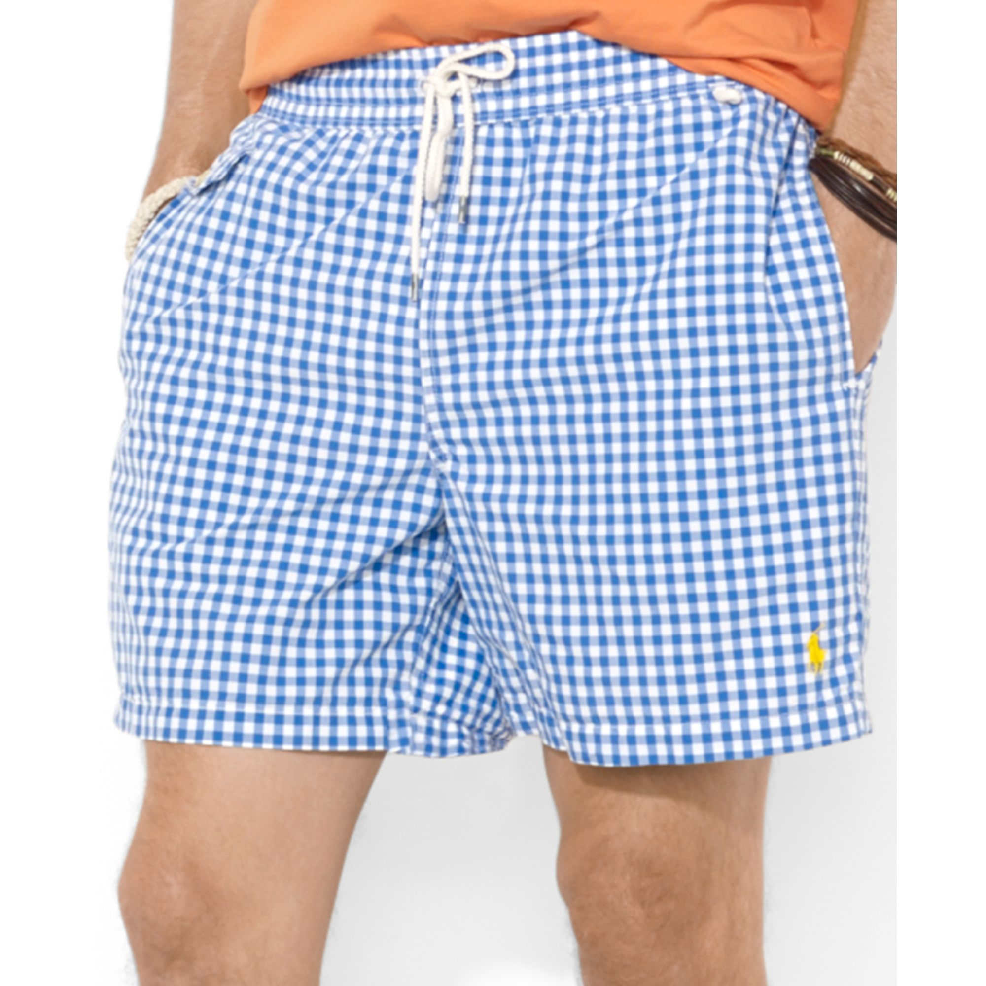 d44fbc6df ... new zealand lyst polo ralph lauren traveler checked swim shorts in blue  for men 48d28 cf5db
