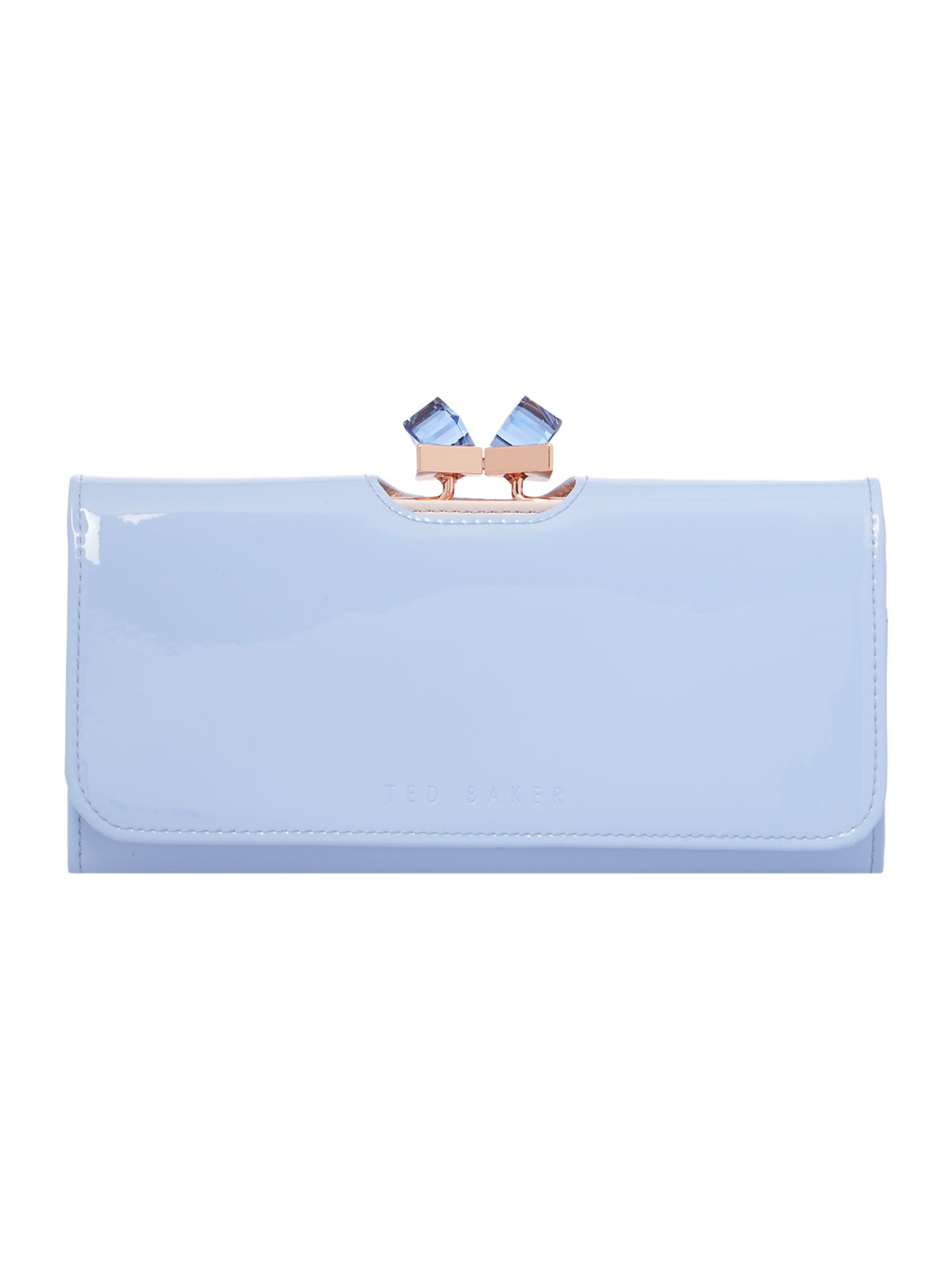 2d506d86eb895 Lyst - Ted Baker Pale Blue Large Patent Crystal Bow Flapover Purse ...