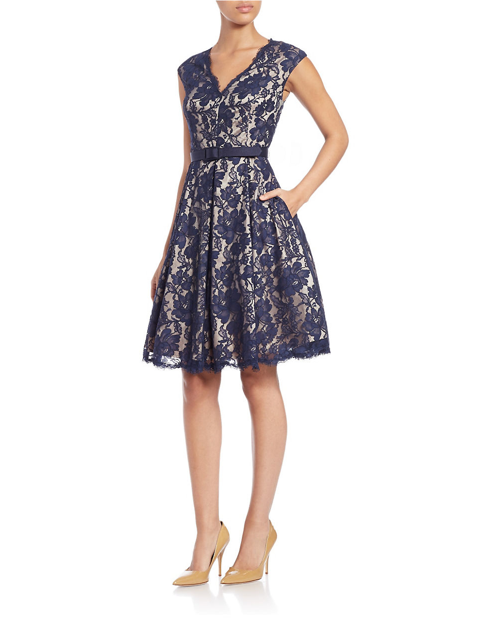 Eliza J Petite Floral Lace Fit And Flare Dress In Blue Lyst