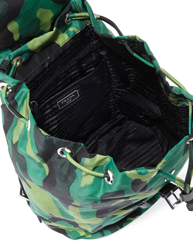 a60d73a48180 Prada Tessuto Camo Nylon Backpack in Green for Men - Lyst