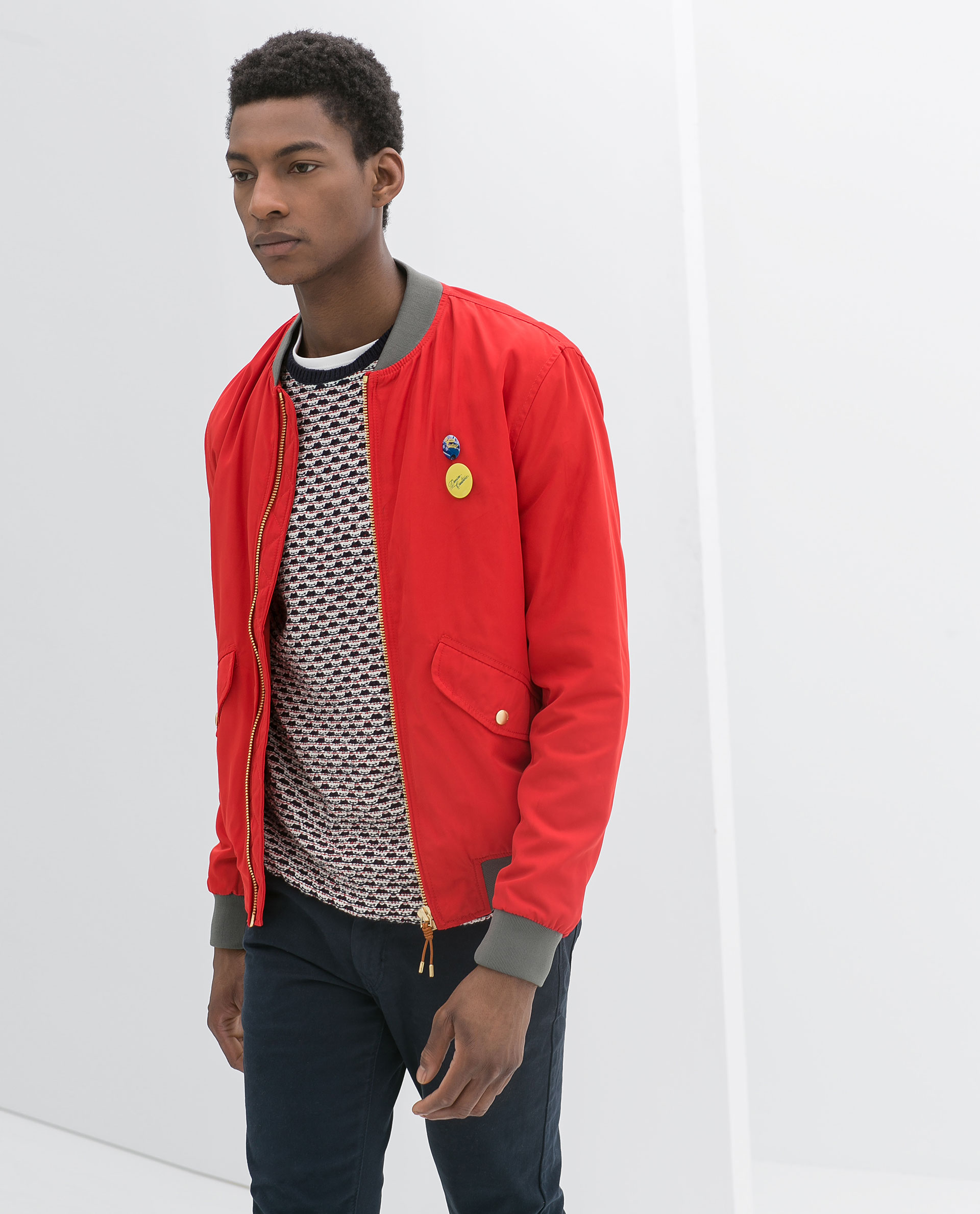 Zara Red Bomber Jacket in Red for Men | Lyst
