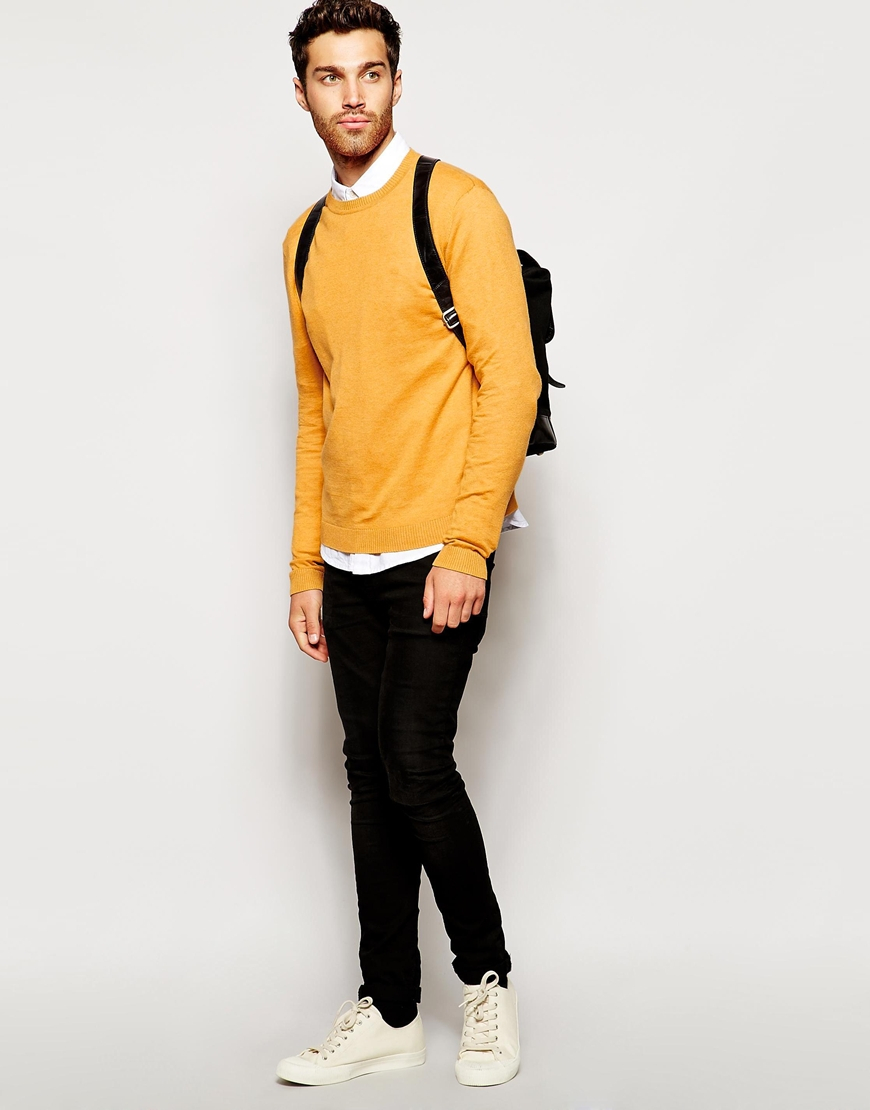 Asos Crew Neck Jumper In Cotton in Yellow for Men | Lyst