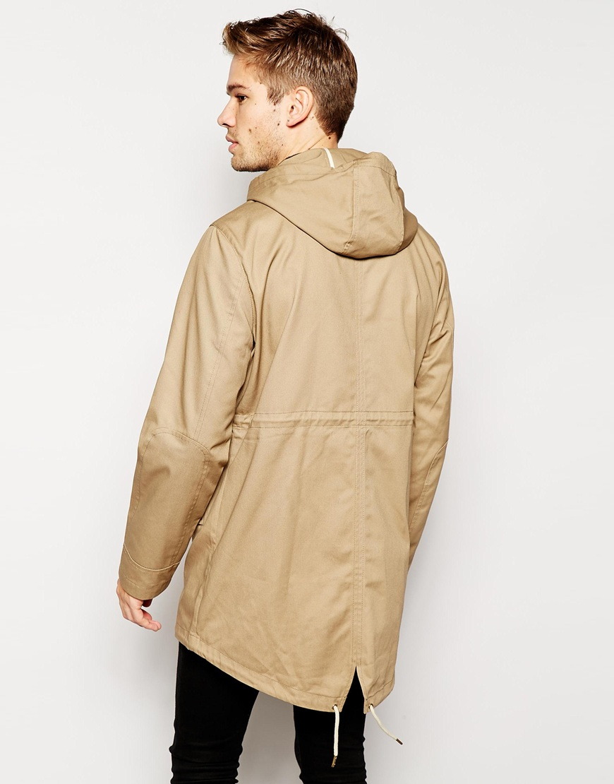 Selected Parka With Fishtail in Natural for Men | Lyst