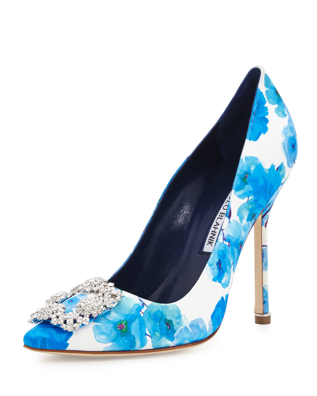 Sale Finishline Free Shipping Manchester Hangisi 105 turquoise blue satin pump Manolo Blahnik Professional Cheap Price ZEJq68i0m