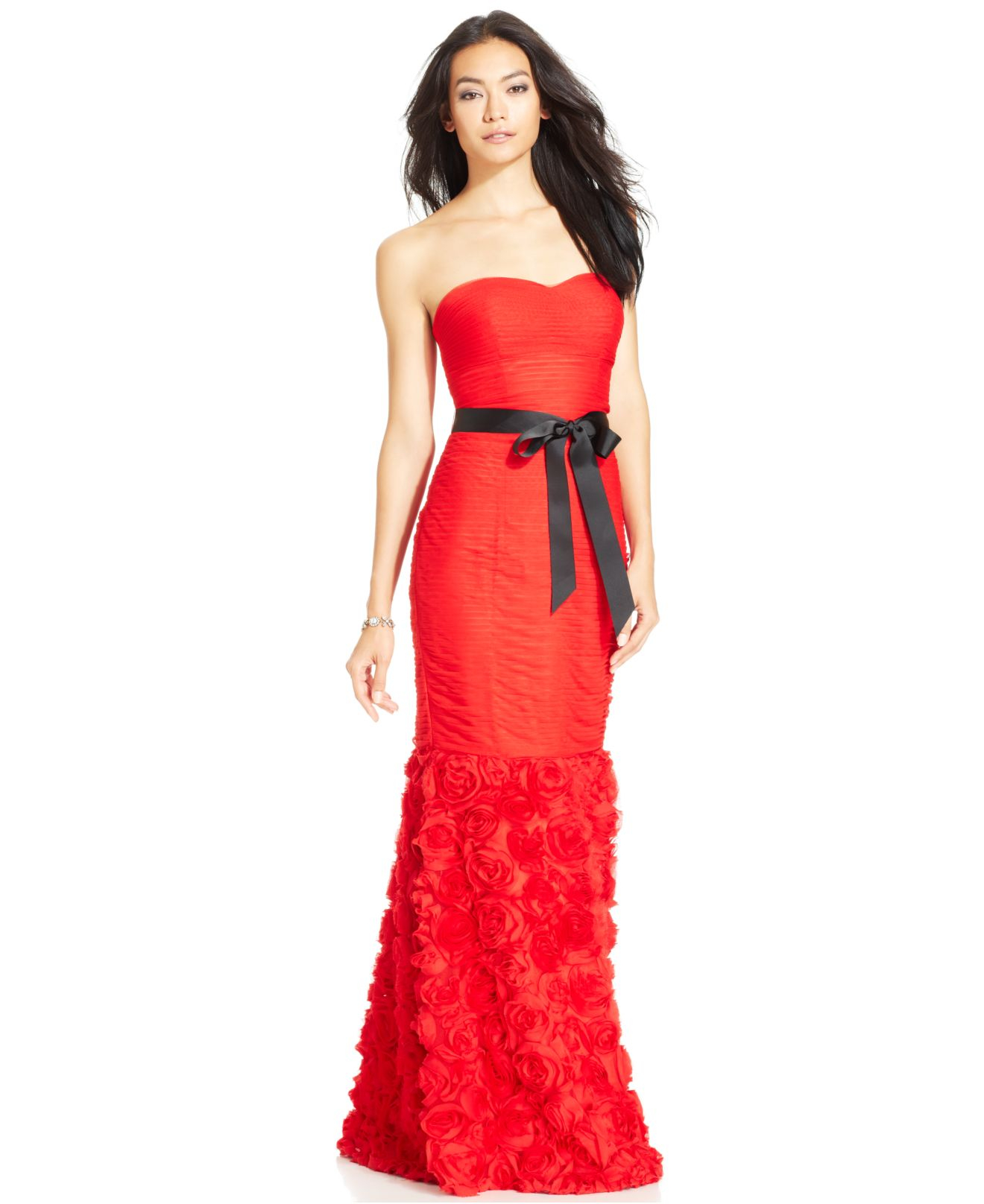 Lyst - Js Collections Strapless Belted Mermaid Gown in Red