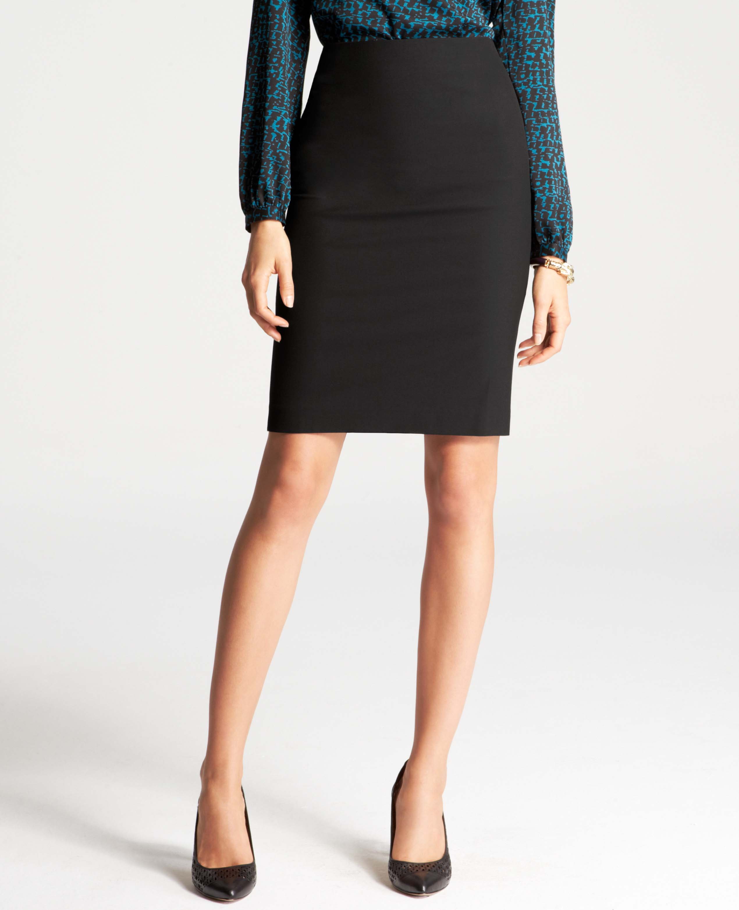 ba59ff21c Lyst - Ann Taylor Back Pleat All-Season Stretch Pencil Skirt in Black