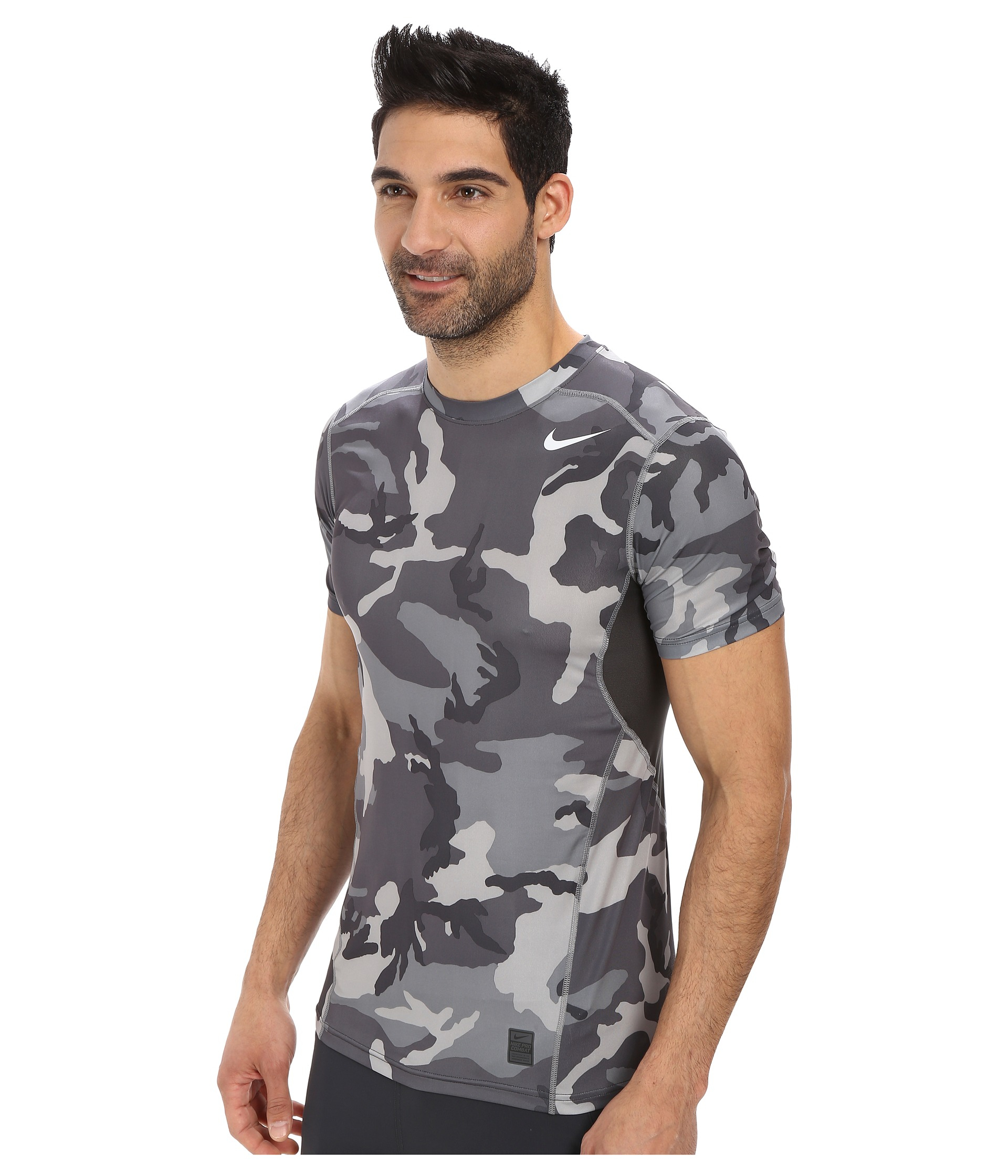 lyst nike pro combat hypercool fitted woodland s s in gray. Black Bedroom Furniture Sets. Home Design Ideas