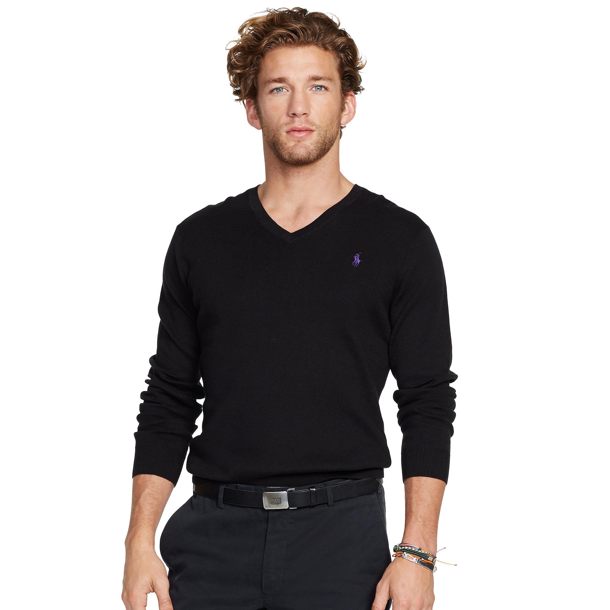 8c8c9855c182 Lyst - Polo Ralph Lauren Slim-fit V-neck Sweater in Black for Men