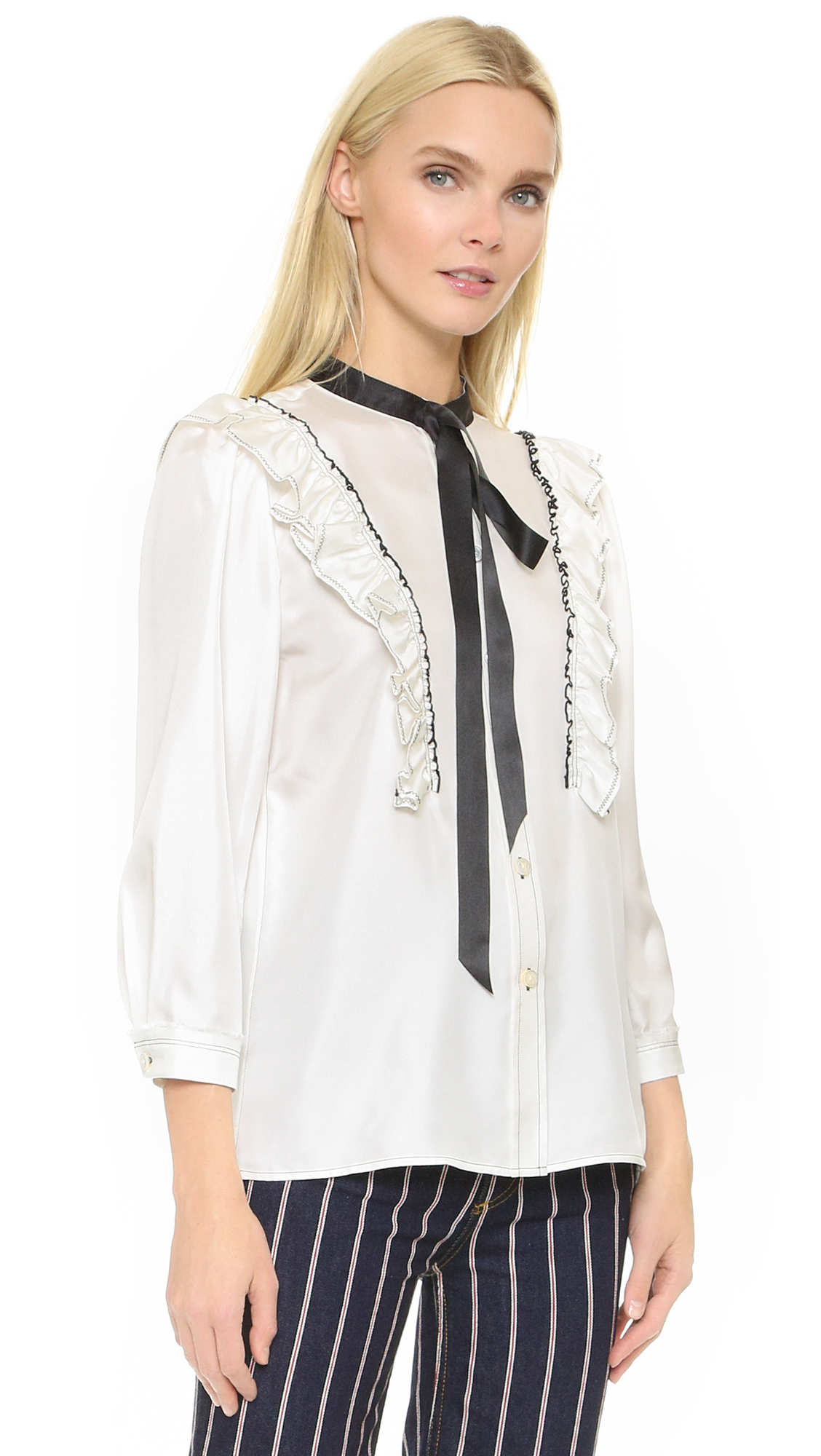 9b7761b52 Marc Jacobs Ruffle Button Up in White - Lyst