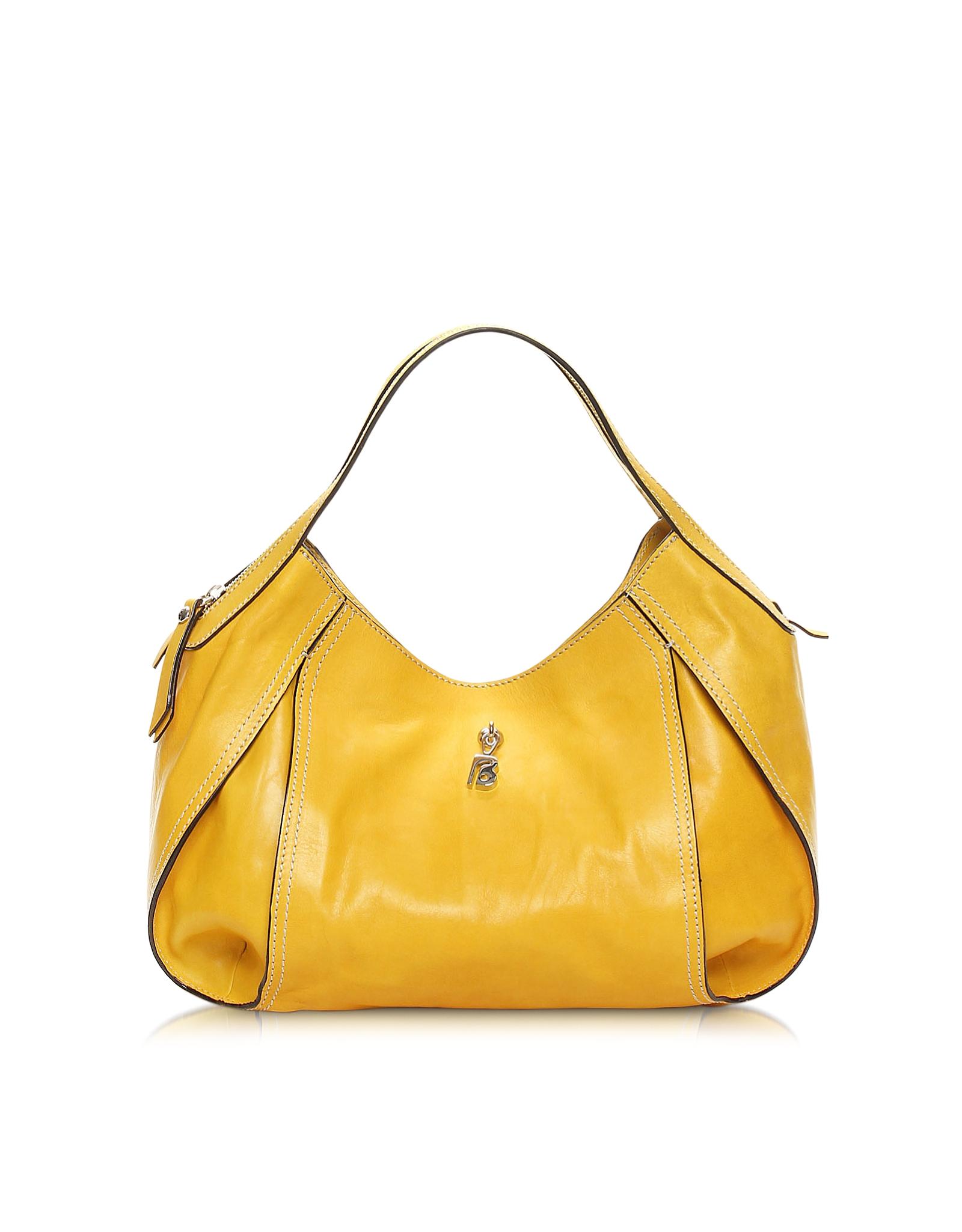 Francesco biasia Copacabana Amber Yellow Leather Shoulder Bag in ...