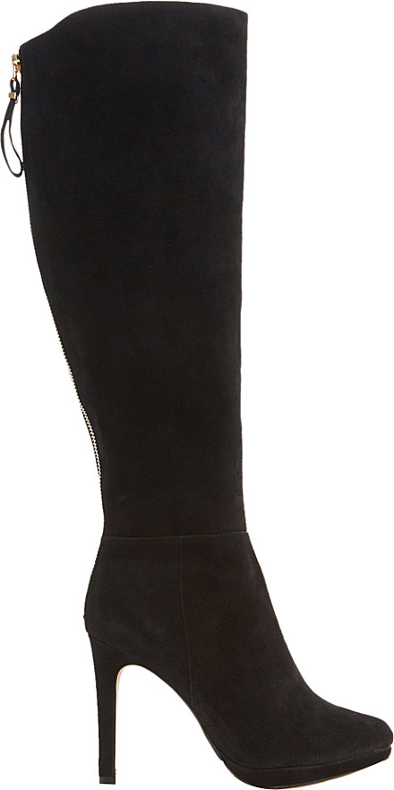 dune skyler suede knee high boots in black black suede